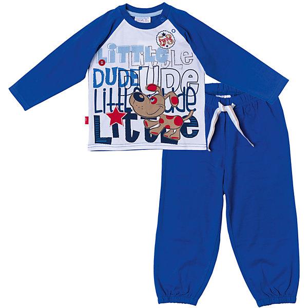 Комплект для мальчика PlayTodayКомплекты<br>Характеристики товара:<br><br>• цвет: синий/белый<br>• состав: 95% хлопок, 5% эластан<br>• сезон: демисезон<br>• комплектация: футболка с длинным рукавом и брюки<br>• две застежки-кнопки на футболке<br>• в поясе брюк шнурок<br>• страна бренда: Германия<br>• страна производства: Китай<br><br>Комплект с рисунком для мальчика PlayToday. Комплект из футболки с длинным рукавом и брюк прекрасно подойдет как для домашнего использования, так и для  прогулок на свежем воздухе. Мягкий, приятный к телу материал не сковывает движений. Яркий стильный принт является достойным украшением данного изделия. <br><br>Брюки на мягкой удобной резинке с удобным регулируемым шнуром - кулиской. Низ брючин отделан мягкими резинками. Для удобства снимания и одевания на горловине расположены две застежки - кнопки.<br><br>Комплект для мальчика от известного бренда PlayToday можно купить в нашем интернет-магазине.<br><br>Ширина мм: 157<br>Глубина мм: 13<br>Высота мм: 119<br>Вес г: 200<br>Цвет: белый<br>Возраст от месяцев: 6<br>Возраст до месяцев: 9<br>Пол: Мужской<br>Возраст: Детский<br>Размер: 92,86,80,74<br>SKU: 5407779
