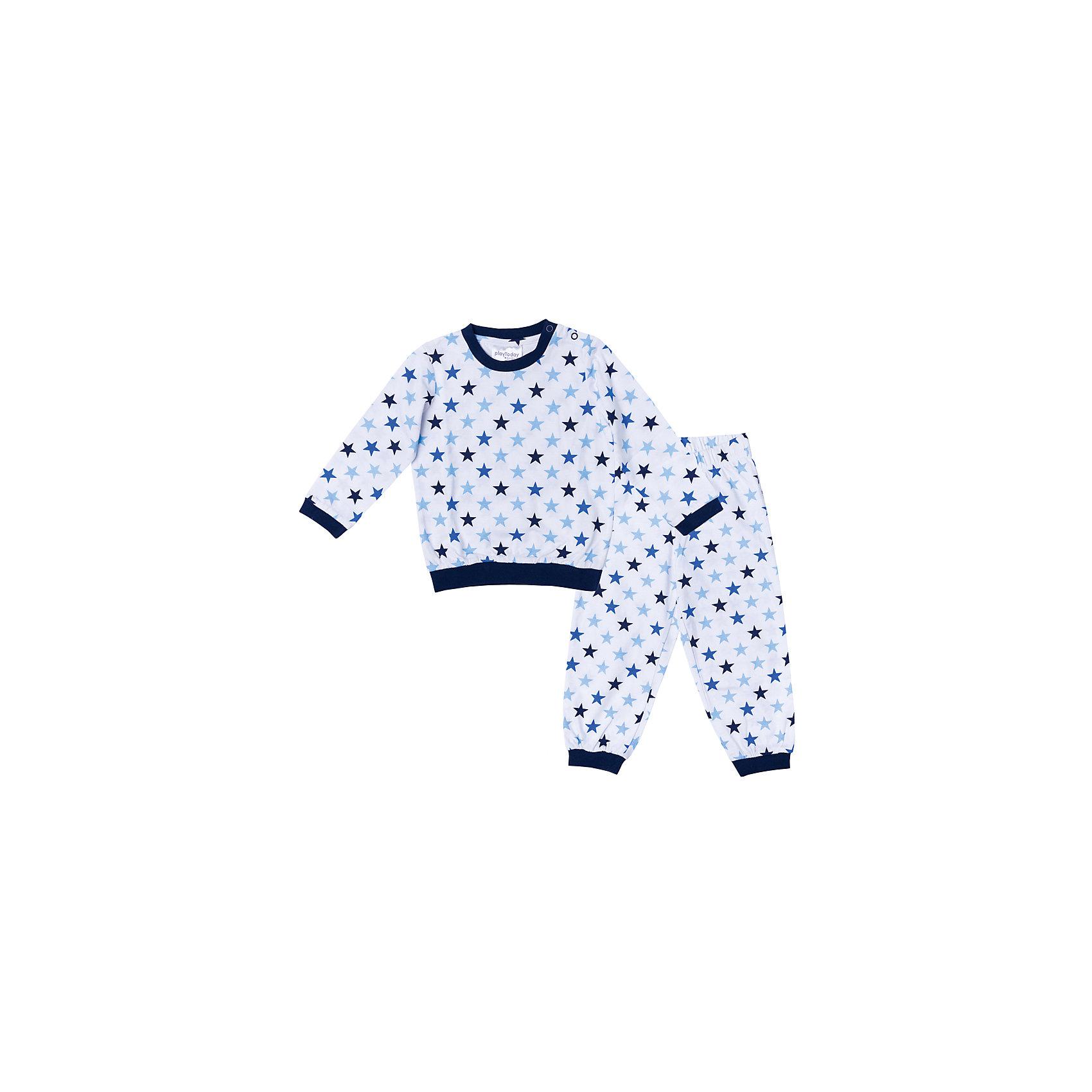 Пижама для мальчика PlayTodayПижамы и сорочки<br>Характеристики товара:<br><br>• цвет: синий, белый<br>• состав: 100% хлопок <br>• кнопки на плече<br>• манжеты на мягких резинках<br>• длинные рукава<br>• страна бренда: Германия<br>• страна производства: Китай<br><br>Пижама с рисунком для мальчика PlayToday. Мягкий, приятный к телу материал не сковывает движений. Брюки на мягкой удобной резинке. Низ брючин отделан мягкими резинками. Для удобства снимания и одевания на горловине расположены две застежки - кнопки.<br><br>Пижама для мальчика от известного бренда Scool можно купить в нашем интернет-магазине.<br><br>Ширина мм: 281<br>Глубина мм: 70<br>Высота мм: 188<br>Вес г: 295<br>Цвет: белый<br>Возраст от месяцев: 12<br>Возраст до месяцев: 15<br>Пол: Мужской<br>Возраст: Детский<br>Размер: 80,86,92,74<br>SKU: 5407789