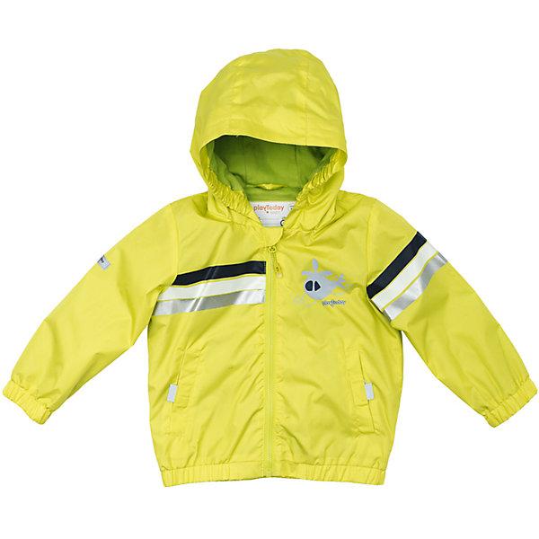 Куртка для мальчика PlayTodayВерхняя одежда<br>Характеристики товара:<br><br>• цвет: желтый<br>• состав: 100% полиэстер<br>• подкладка: 80% хлопок, 20% полиэстер<br>• без утеплителя<br>• температурный режим: от +10°С до +20°С<br>• сезон: демисезон<br>• водоотталкивающая пропитка<br>• молния с защитой подбородка<br>• эластичные манжеты<br>• капюшон не отстегивается<br>• светоотражатели на рукаве и по низу изделия<br>• страна бренда: Германия<br>• страна производства: Китай<br><br>Куртка с капюшоном для мальчика PlayToday. Куртка со специальной водоотталкивающей пропиткой защитит ребенка в любую погоду! Специальный карман для фиксации застежки - молнии не позволит застежке травмировать нежную кожу ребенка. Мягкие резинки на рукавах и по низу изделия защитят ребенка - ветер не сможет проникнуть под куртку. <br><br>Модель с резинкой на капюшоне - даже во время активных игр капюшон не упадет с головы ребенка. Модель на подкладке из натурального материала. Подойдет даже для самых активных детей - подкладка хорошо впитывает влагу. Наличие светоотражателей обеспечит безопасность ребенка - он будет виден в темное время суток.<br><br>Куртку для мальчика от известного бренда PlayToday можно купить в нашем интернет-магазине.<br>Ширина мм: 356; Глубина мм: 10; Высота мм: 245; Вес г: 519; Цвет: белый; Возраст от месяцев: 12; Возраст до месяцев: 18; Пол: Мужской; Возраст: Детский; Размер: 86,92,74,80; SKU: 5407830;