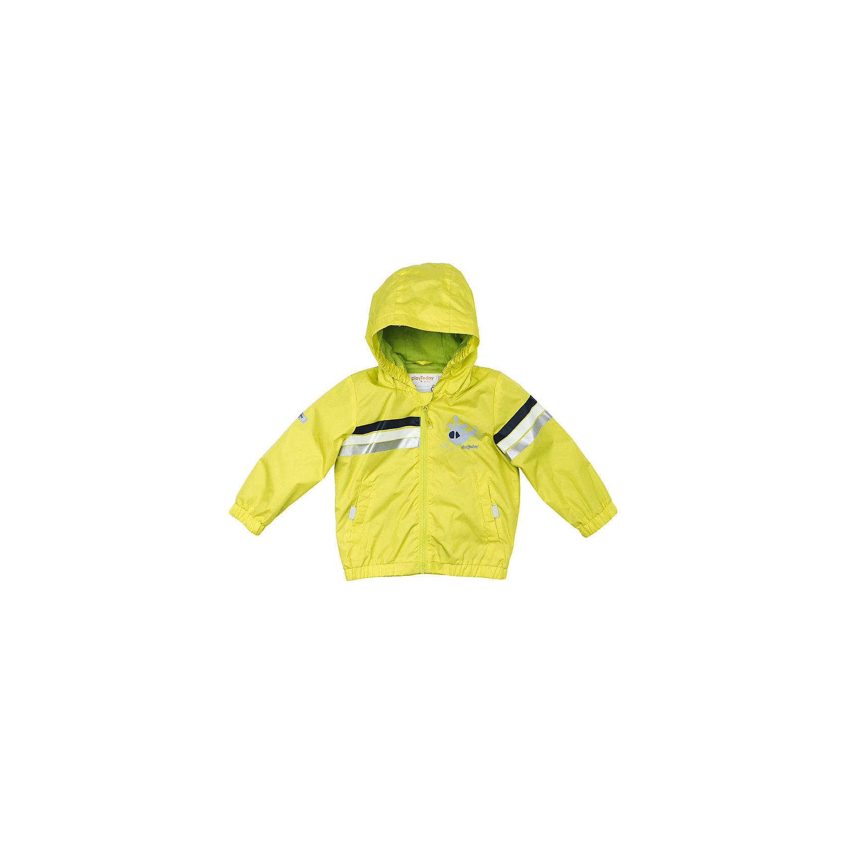 Куртка для мальчика PlayTodayВерхняя одежда<br>Куртка для мальчика PlayToday<br>Куртка со специальной водоотталкивающей пропиткой защитит Вашего ребенка в любую погоду! Специальный карман для фиксации застежки - молнии не позволит застежке травмировать нежную кожу ребенка. Мягкие резинки на рукавах и по низу изделия защитят Вашего ребенка - ветер не сможет проникнуть под куртку. Модель с резинкой на капюшоне - даже во время активных игр капюшон не упадет с головы ребенка. Модель на подкладке из натурального материала. Подойдет даже для самых активных детей - подкладка хорошо впитывает влагу. Наличие светоотражателей обеспечит безопасность Вашего ребенка - он будет виден в темное время суток.Преимущества: Защита подбородка. Специальный карман для фиксации застежки - молнии не позволит застежке травмировать нежную кожу ребенкаНатуральная ткань подкладки хорошо впитывает влагу, приятна к телу и не вызывает раздраженийСветоотражатели на рукаве и по низу изделия.<br>Состав:<br>Верх: 100% полиэстер, подкладка: 80% хлопок, 20% полиэстер<br><br>Ширина мм: 356<br>Глубина мм: 10<br>Высота мм: 245<br>Вес г: 519<br>Цвет: разноцветный<br>Возраст от месяцев: 18<br>Возраст до месяцев: 24<br>Пол: Мужской<br>Возраст: Детский<br>Размер: 92,74,80,86<br>SKU: 5407830