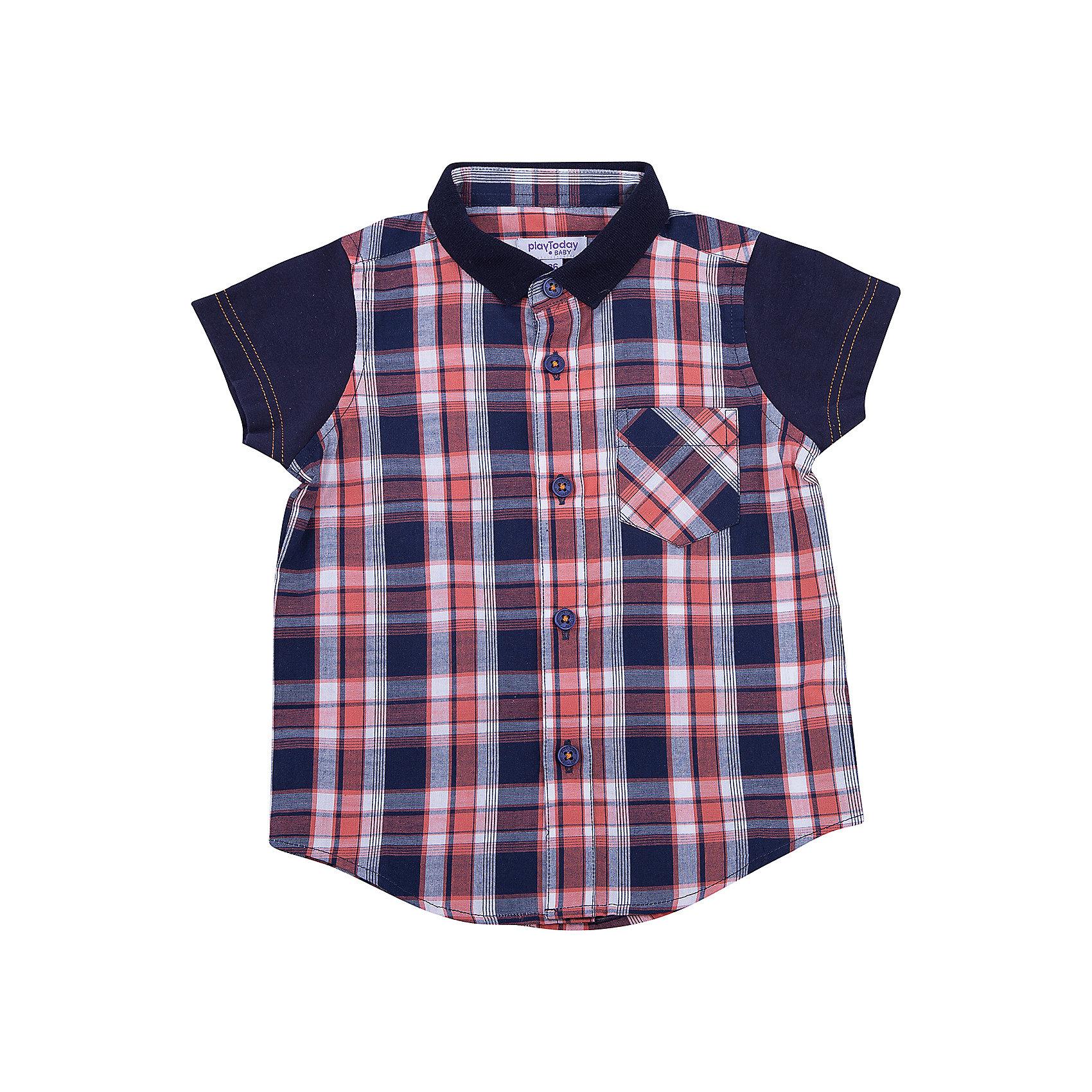 Рубашка для мальчика PlayTodayБлузки и рубашки<br>Рубашка для мальчика PlayToday<br>Эффектная сорочка с коротким рукавом для мальчика в стиле кантри.  Практична и очень удобна для повседневной носки. Ткань  мягкая и приятная на ощупь, не раздражает нежную детскую кожу. Стиль отвечает всем последним тенденциям детской моды.  Рубашка с отложным воротничком и накладным карманом. Даже в самой активной игре  Ваш ребенок будет всегда иметь аккуратный вид.Преимущества: Качественная тонкая ткань не раздражает нежную кожу ребенкаМодель с отложным воротником  и накладным карманом<br>Состав:<br>100% хлопок<br><br>Ширина мм: 157<br>Глубина мм: 13<br>Высота мм: 119<br>Вес г: 200<br>Цвет: разноцветный<br>Возраст от месяцев: 18<br>Возраст до месяцев: 24<br>Пол: Мужской<br>Возраст: Детский<br>Размер: 92,74,80,86<br>SKU: 5407855