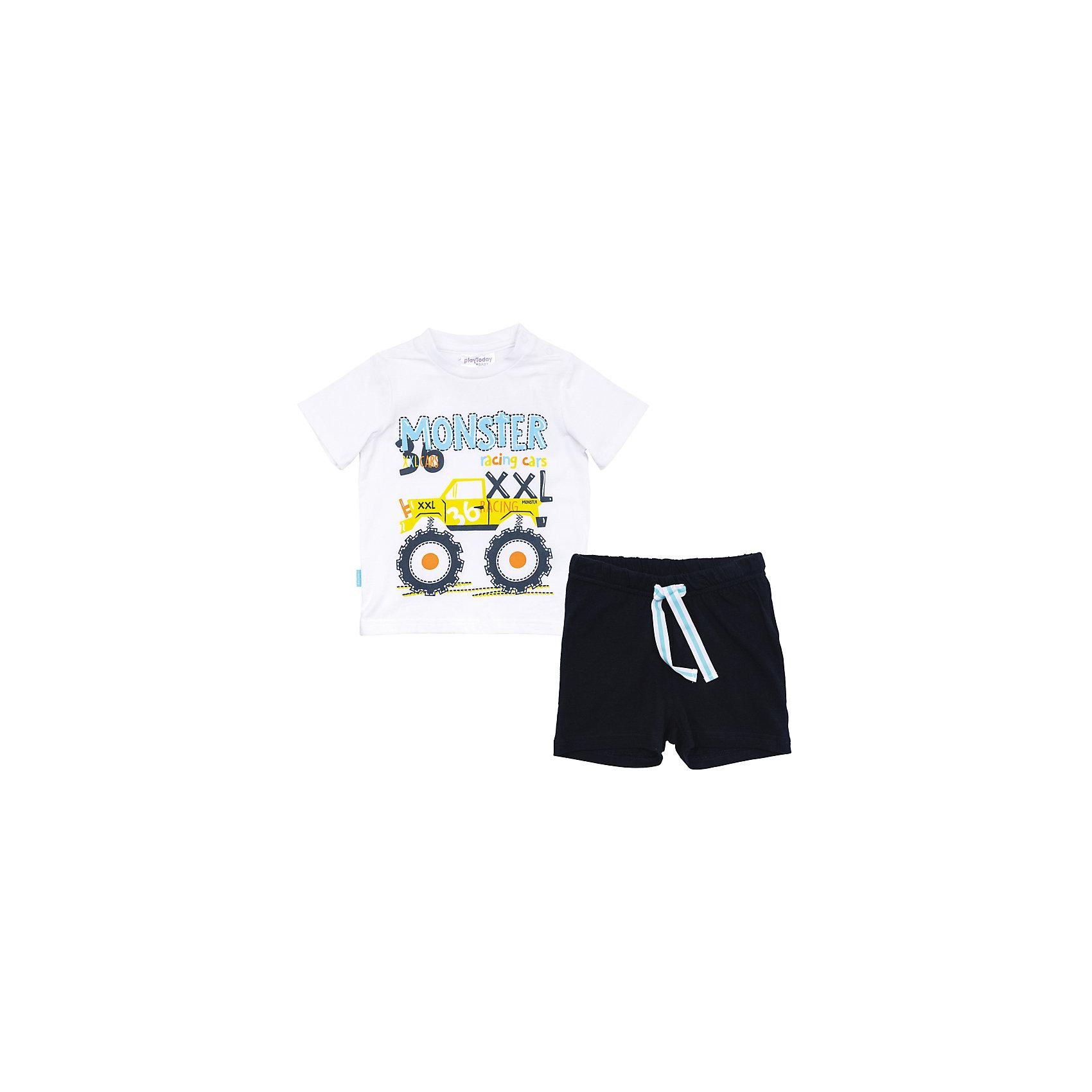 Комплект для мальчика PlayTodayКомплекты<br>Комплект для мальчика PlayToday<br>Комплект из футболки и шорт прекрасно подойдет как для домашнего использования, так и для  прогулок на свежем воздухе. Мягкий, приятный к телу материал не сковывает движений. Яркая аппликация является достойным украшением данного изделия. Шорты на мягкой удобной резинке с удобным регулируемым шнуром - кулиской контрасного цвета.Преимущества: Мягкий материал приятен к телу и не вызывает раздраженийСвободный крой не сковывает движений ребенкаМодель декорирована аппликацией<br>Состав:<br>95% хлопок, 5% эластан<br><br>Ширина мм: 157<br>Глубина мм: 13<br>Высота мм: 119<br>Вес г: 200<br>Цвет: разноцветный<br>Возраст от месяцев: 6<br>Возраст до месяцев: 9<br>Пол: Мужской<br>Возраст: Детский<br>Размер: 74,92,80,86<br>SKU: 5407880