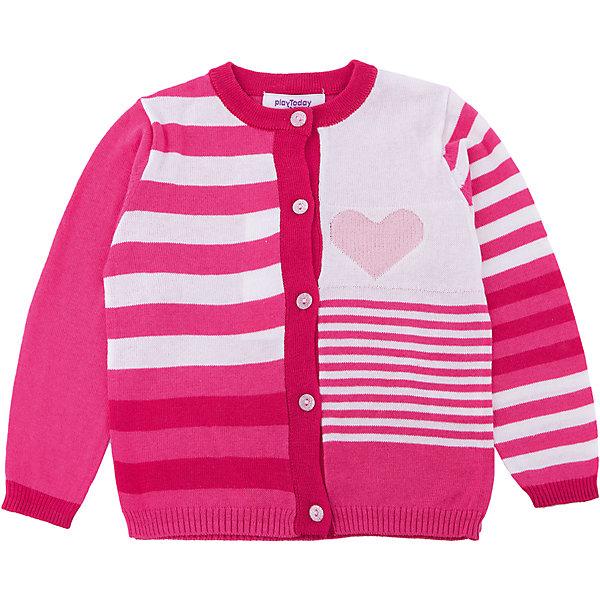 Кардиган для девочки PlayTodayТолстовки, свитера, кардиганы<br>Характеристики товара:<br><br>• цвет: разноцветный<br>• состав: 55% хлопок, 40% акрил, 5% нейлон<br>• изготовлен методом yarn dyed, долго выглядит как новый<br>• декорирован вязаным узором<br>• пуговицы<br>• эластичные манжеты<br>• резинка по низу<br>• комфортная посадка<br>• коллекция: весна-лето 2017<br>• страна бренда: Германия<br>• страна производства: Китай<br><br>Популярный бренд PlayToday выпустил новую коллекцию! Вещи из неё продолжают радовать покупателей удобством, стильным дизайном и продуманным кроем. Дети носят их с удовольствием. PlayToday - это линейка товаров, созданная специально для детей. Дизайнеры учитывают новые веяния моды и потребности детей. Порадуйте ребенка обновкой от проверенного производителя!<br>Такая стильная модель обеспечит ребенку комфорт благодаря качественному материалу и продуманному крою. С помощью неё можно удобно одеться по погоде. Очень модная вещь! Отлично подходит для переменной погоды межсезонья.<br><br>Кардиган для девочки от известного бренда PlayToday можно купить в нашем интернет-магазине.<br>Ширина мм: 190; Глубина мм: 74; Высота мм: 229; Вес г: 236; Цвет: белый; Возраст от месяцев: 6; Возраст до месяцев: 9; Пол: Женский; Возраст: Детский; Размер: 92,86,80,74; SKU: 5408094;