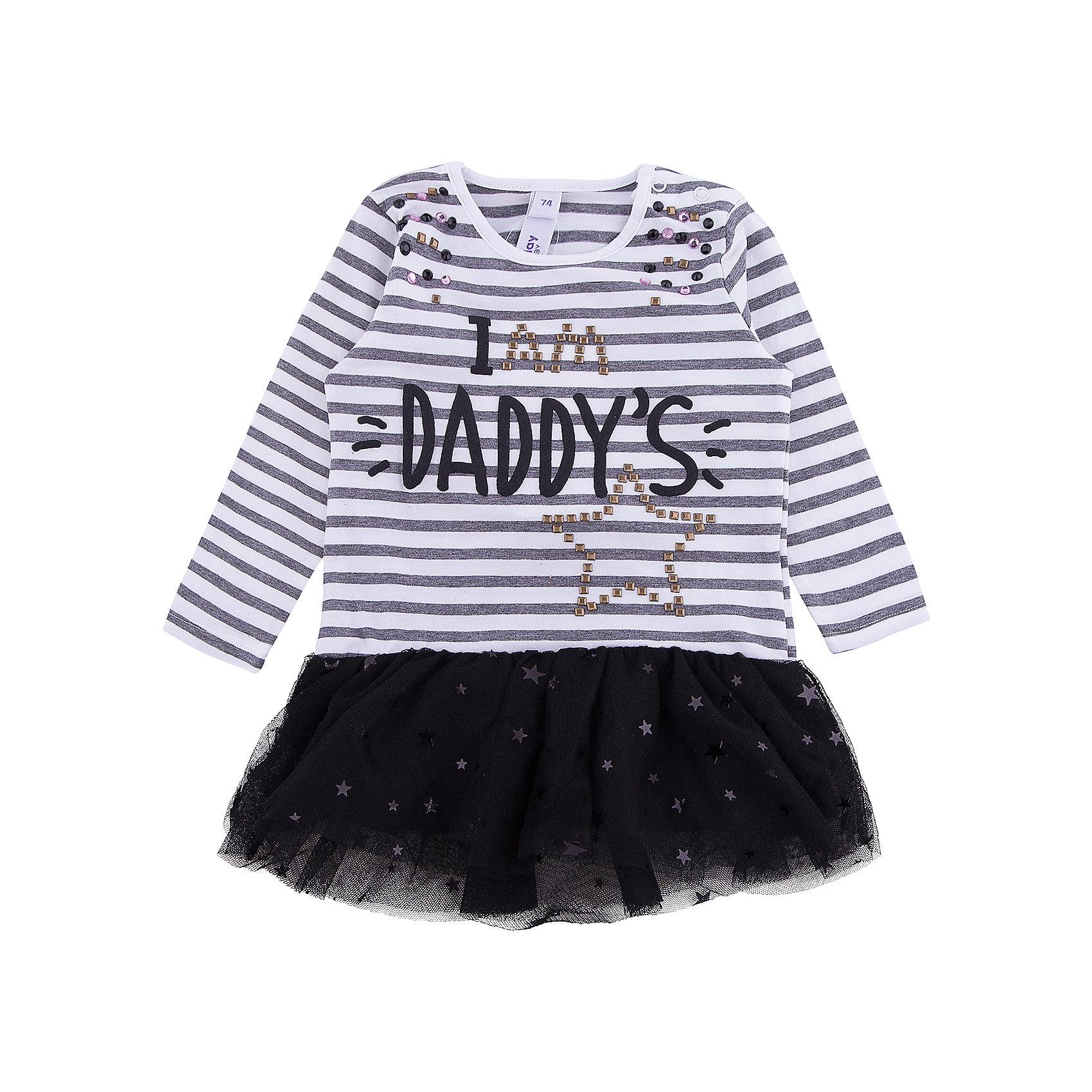 Платье для девочки PlayTodayПлатья<br>Платье для девочки PlayToday<br>Платье, с заниженной талией, с округлом вырезом у горловины понравится Вашей моднице.  Свободный крой не сковывает движений. Приятная на ощупь ткань не раздражает нежную кожу ребенка. Пышая юбка из легкой сетчатой ткани. Модель декорирована стразами, принтом и пайетками. На горловине платье снабжено двумя застежками - кнопками для удобства снимания и одевания.Преимущества: Свободный крой не сковывает движений ребенкаМатериал приятен к телу и не вызывает раздраженийДекорировано стразами, принтом и пайетками<br>Состав:<br>95% хлопок, 5% эластан; отделка 100% полиэстер<br><br>Ширина мм: 236<br>Глубина мм: 16<br>Высота мм: 184<br>Вес г: 177<br>Цвет: разноцветный<br>Возраст от месяцев: 18<br>Возраст до месяцев: 24<br>Пол: Женский<br>Возраст: Детский<br>Размер: 74,80,86,92<br>SKU: 5408139
