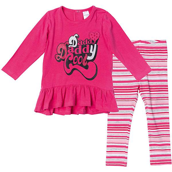 Комплект для девочки PlayTodayКомплекты<br>Характеристики товара:<br><br>• цвет: розовый<br>• состав: 95% хлопок, 5% эластан<br>• комплектация: платье, леггинсы<br>• дышащий материал<br>• длинные рукава<br>• кнопки на платье для удобства надевания<br>• пояс леггинсов - мягкая резинка<br>• комфортная посадка<br>• коллекция: весна-лето 2017<br>• страна бренда: Германия<br>• страна производства: Китай<br><br>Популярный бренд PlayToday выпустил новую коллекцию! Вещи из неё продолжают радовать покупателей удобством, стильным дизайном и продуманным кроем. Дети носят их с удовольствием. PlayToday - это линейка товаров, созданная специально для детей. Дизайнеры учитывают новые веяния моды и потребности детей. Порадуйте ребенка обновкой от проверенного производителя!<br>Эта модель обеспечит ребенку комфорт благодаря качественному материалу и удобному крою. Отличный вариант детской одежды - она не трет и давит, не ограничивает свободу движений! Выглядит стильно и аккуратно.<br><br>Комплект для девочки от известного бренда PlayToday можно купить в нашем интернет-магазине.<br>Ширина мм: 215; Глубина мм: 88; Высота мм: 191; Вес г: 336; Цвет: белый; Возраст от месяцев: 6; Возраст до месяцев: 9; Пол: Женский; Возраст: Детский; Размер: 74,92,86,80; SKU: 5408144;