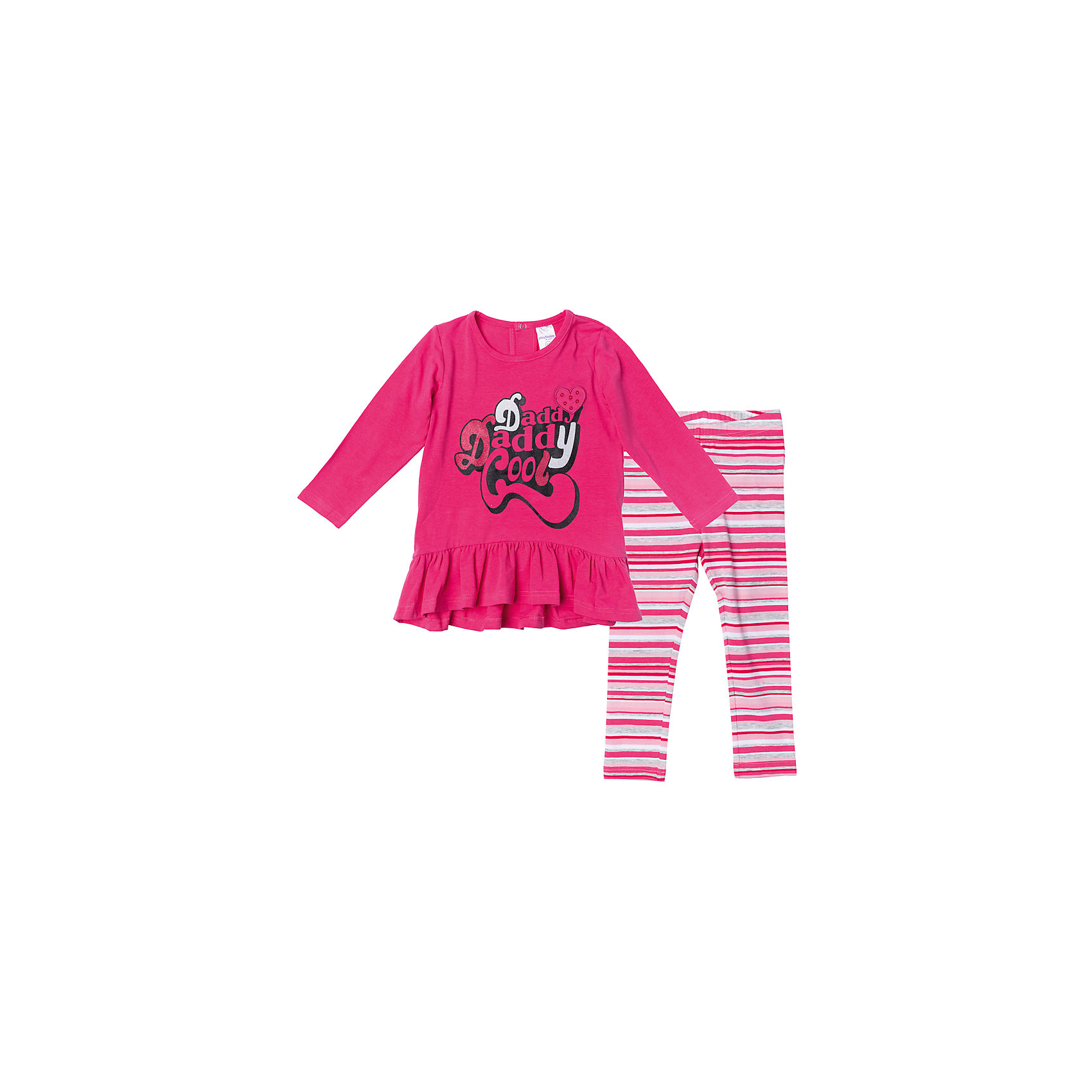 Комплект для девочки PlayTodayКомплекты<br>Характеристики товара:<br><br>• цвет: розовый<br>• состав: 95% хлопок, 5% эластан<br>• комплектация: платье, леггинсы<br>• дышащий материал<br>• длинные рукава<br>• кнопки на платье для удобства надевания<br>• пояс леггинсов - мягкая резинка<br>• комфортная посадка<br>• коллекция: весна-лето 2017<br>• страна бренда: Германия<br>• страна производства: Китай<br><br>Популярный бренд PlayToday выпустил новую коллекцию! Вещи из неё продолжают радовать покупателей удобством, стильным дизайном и продуманным кроем. Дети носят их с удовольствием. PlayToday - это линейка товаров, созданная специально для детей. Дизайнеры учитывают новые веяния моды и потребности детей. Порадуйте ребенка обновкой от проверенного производителя!<br>Эта модель обеспечит ребенку комфорт благодаря качественному материалу и удобному крою. Отличный вариант детской одежды - она не трет и давит, не ограничивает свободу движений! Выглядит стильно и аккуратно.<br><br>Комплект для девочки от известного бренда PlayToday можно купить в нашем интернет-магазине.<br><br>Ширина мм: 215<br>Глубина мм: 88<br>Высота мм: 191<br>Вес г: 336<br>Цвет: белый<br>Возраст от месяцев: 6<br>Возраст до месяцев: 9<br>Пол: Женский<br>Возраст: Детский<br>Размер: 74,92,86,80<br>SKU: 5408144
