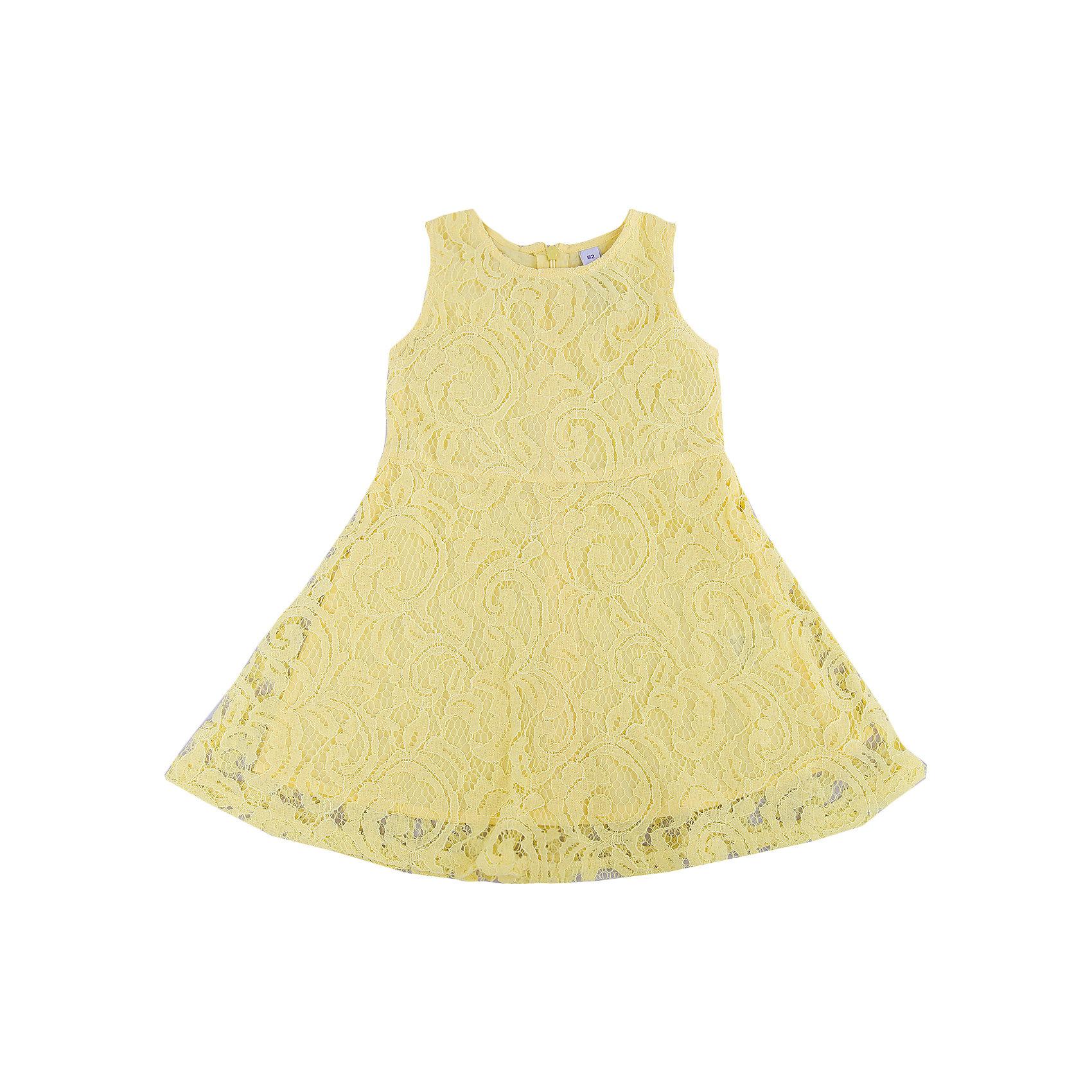 Платье для девочки PlayTodayПлатья<br>Платье для девочки PlayToday<br>Платье с округлым вырезом у горловины, понравится Вашей моднице.  Свободный крой не сковывает движений. Модель на молнии и на покладке из натурального хлопка. Нежный ажурный гипюр придает платью особенную легкость.Преимущества: Натуральная ткань подкладки не вызывает раздраженийСвободный крой не сковывает движений ребенка<br>Состав:<br>Верх: 80% хлопок, 20% полиамид; подкладка: 100% хлопок<br><br>Ширина мм: 236<br>Глубина мм: 16<br>Высота мм: 184<br>Вес г: 177<br>Цвет: желтый<br>Возраст от месяцев: 6<br>Возраст до месяцев: 9<br>Пол: Женский<br>Возраст: Детский<br>Размер: 74,86,92,80<br>SKU: 5408268