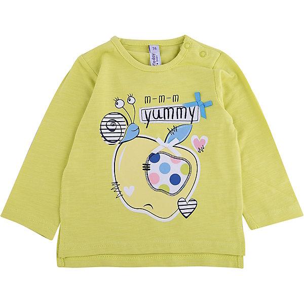 Футболка с длинным рукавом для девочки PlayTodayКофточки и распашонки<br>Характеристики товара:<br><br>• цвет: желтый<br>• состав: 95% хлопок, 5% эластан<br>• принт<br>• дышащий материал<br>• длинные рукава<br>• эластичный трикотаж<br>• комфортная посадка<br>• коллекция: весна-лето 2017<br>• страна бренда: Германия<br>• страна производства: Китай<br><br>Популярный бренд PlayToday выпустил новую коллекцию! Вещи из неё продолжают радовать покупателей удобством, стильным дизайном и продуманным кроем. Дети носят их с удовольствием. PlayToday - это линейка товаров, созданная специально для детей. Дизайнеры учитывают новые веяния моды и потребности детей. Порадуйте ребенка обновкой от проверенного производителя!<br>Такая стильная модель обеспечит ребенку комфорт благодаря качественному материалу и продуманному крою. С помощью неё можно удобно одеться по погоде. Очень модная вещь! Отлично подходит для переменной погоды межсезонья или теплого лета.<br><br>Футболку с длинным рукавом для девочки от известного бренда PlayToday можно купить в нашем интернет-магазине.<br><br>Ширина мм: 230<br>Глубина мм: 40<br>Высота мм: 220<br>Вес г: 250<br>Цвет: белый<br>Возраст от месяцев: 6<br>Возраст до месяцев: 9<br>Пол: Женский<br>Возраст: Детский<br>Размер: 74,80,92,86<br>SKU: 5408293