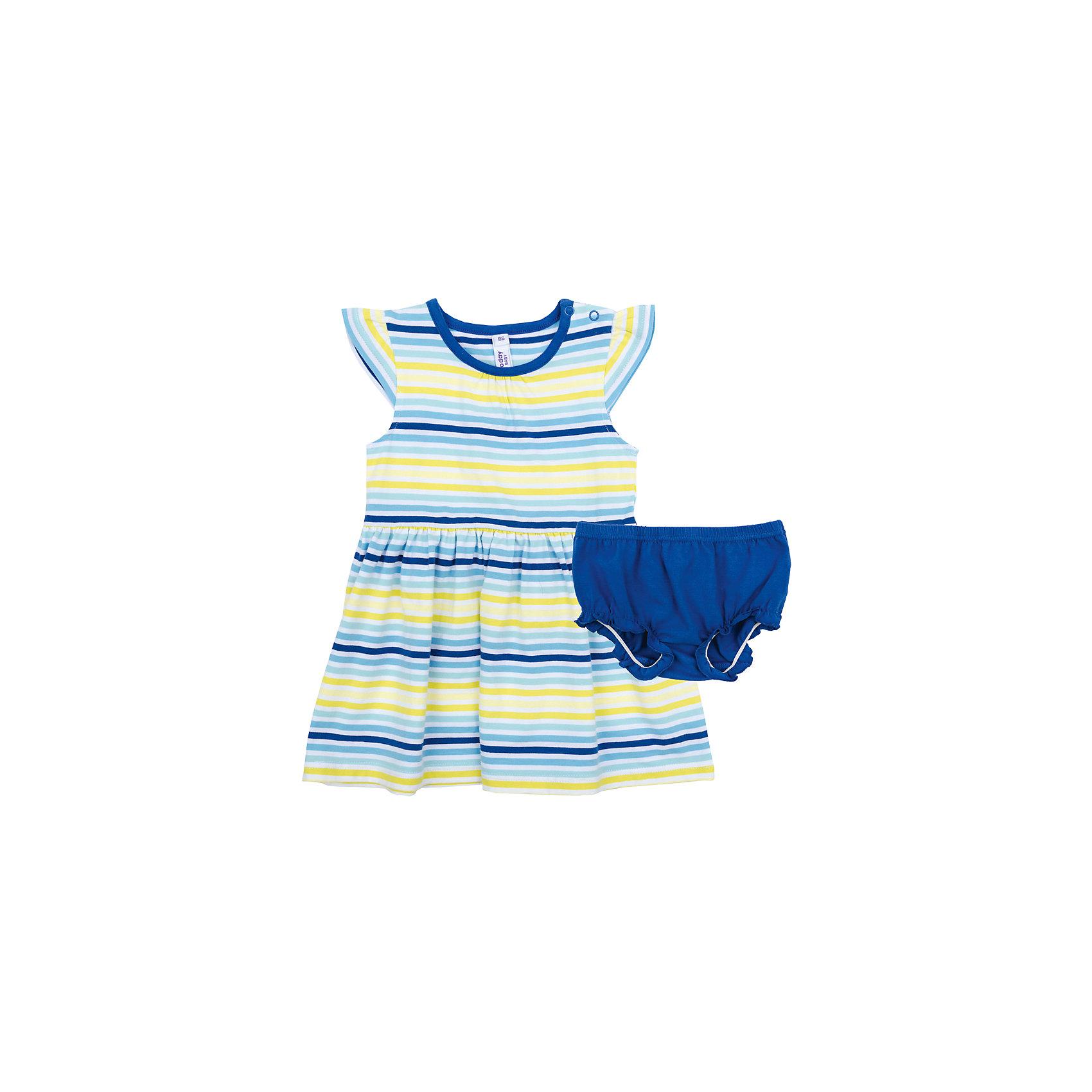 Комплект для девочки PlayTodayКомплекты<br>Характеристики товара:<br><br>• цвет: разноцветный<br>• состав: 95% хлопок, 5% эластан<br>• комплектация: платье, трусы<br>• дышащий материал<br>• рукава-крылышки<br>• кнопки на платье для удобства надевания<br>• пояс трусов - мягкая резинка<br>• комфортная посадка<br>• коллекция: весна-лето 2017<br>• страна бренда: Германия<br>• страна производства: Китай<br><br>Популярный бренд PlayToday выпустил новую коллекцию! Вещи из неё продолжают радовать покупателей удобством, стильным дизайном и продуманным кроем. Дети носят их с удовольствием. PlayToday - это линейка товаров, созданная специально для детей. Дизайнеры учитывают новые веяния моды и потребности детей. Порадуйте ребенка обновкой от проверенного производителя!<br>Эта модель обеспечит ребенку комфорт благодаря качественному материалу и удобному крою. Отличный вариант детской одежды - она не трет и давит, не ограничивает свободу движений! Выглядит стильно и аккуратно.<br><br>Комплект для девочки от известного бренда PlayToday можно купить в нашем интернет-магазине.<br><br>Ширина мм: 236<br>Глубина мм: 16<br>Высота мм: 184<br>Вес г: 177<br>Цвет: белый<br>Возраст от месяцев: 18<br>Возраст до месяцев: 24<br>Пол: Женский<br>Возраст: Детский<br>Размер: 92,74,80,86<br>SKU: 5408358