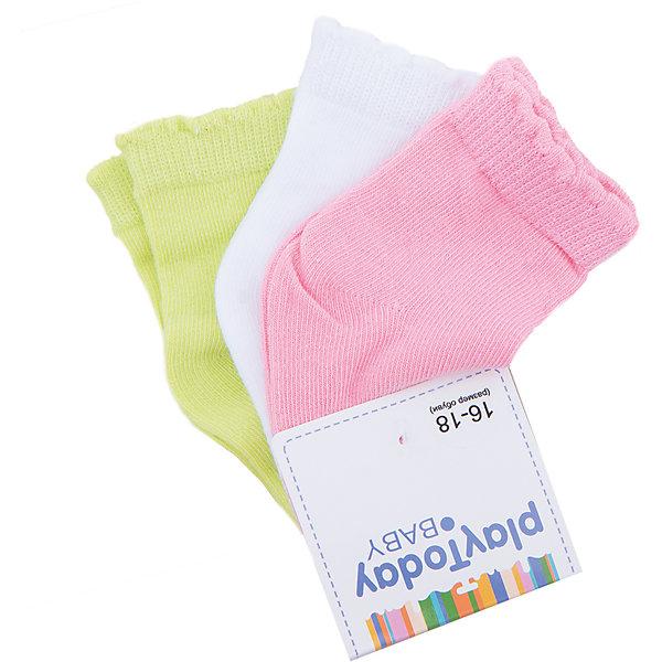 Носки, 3 пары для девочки PlayTodayНоски<br>Характеристики товара:<br><br>• цвет: зеленый/белый/розовый<br>• состав: 75% хлопок, 22% нейлон, 3% эластан<br>• комплектация: 3 пары<br>• долго служат<br>• качественный трикотаж<br>• дышащий материал<br>• мягкая резинка<br>• комфортная посадка<br>• коллекция: весна-лето 2017<br>• страна бренда: Германия<br>• страна производства: Китай<br><br>Популярный бренд PlayToday выпустил новую коллекцию! Вещи из неё продолжают радовать покупателей удобством, стильным дизайном и продуманным кроем. Дети носят их с удовольствием. PlayToday - это линейка товаров, созданная специально для детей. Дизайнеры учитывают новые веяния моды и потребности детей. Порадуйте ребенка обновкой от проверенного производителя!<br>Эти носки обеспечат ребенку комфорт благодаря качественному материалу и продуманному крою. Отличный вариант удобной одежды - не натирает и не давит, не ограничивает свободу движений! Выглядит стильно и аккуратно.<br><br>Носки, 3 пары, для девочки от известного бренда PlayToday можно купить в нашем интернет-магазине.<br><br>Ширина мм: 87<br>Глубина мм: 10<br>Высота мм: 105<br>Вес г: 115<br>Цвет: разноцветный<br>Возраст от месяцев: 6<br>Возраст до месяцев: 9<br>Пол: Женский<br>Возраст: Детский<br>Размер: 11,12<br>SKU: 5408379