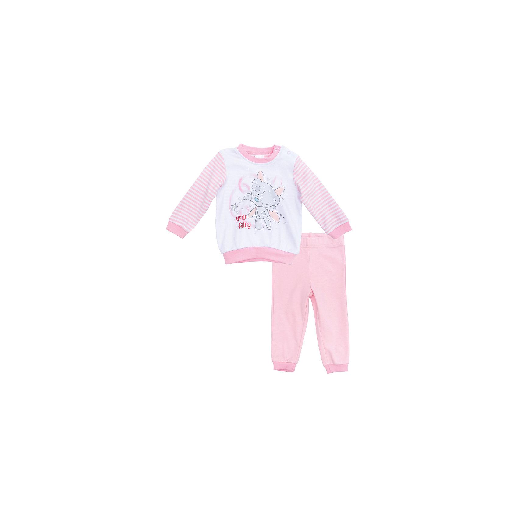 Пижама для девочки PlayTodayКомплекты<br>Характеристики товара:<br><br>• цвет: розовый<br>• состав: 100% хлопок<br>• комплектация: кофточка, брюки<br>• дышащий материал<br>• длинные рукава<br>• кнопки для удобства надевания<br>• пояс брюк - мягкая резинка<br>• комфортная посадка<br>• коллекция: весна-лето 2017<br>• страна бренда: Германия<br>• страна производства: Китай<br><br>Популярный бренд PlayToday выпустил новую коллекцию! Вещи из неё продолжают радовать покупателей удобством, стильным дизайном и продуманным кроем. Дети носят их с удовольствием. PlayToday - это линейка товаров, созданная специально для детей. Дизайнеры учитывают новые веяния моды и потребности детей. Порадуйте ребенка обновкой от проверенного производителя!<br>Эта модель обеспечит ребенку комфорт благодаря качественному материалу и удобному крою. Отличный вариант детской одежды - она не трет и давит, не ограничивает свободу движений! Выглядит стильно и аккуратно.<br><br>Комплект для девочки от известного бренда PlayToday можно купить в нашем интернет-магазине.<br><br>Ширина мм: 157<br>Глубина мм: 13<br>Высота мм: 119<br>Вес г: 200<br>Цвет: белый<br>Возраст от месяцев: 6<br>Возраст до месяцев: 9<br>Пол: Женский<br>Возраст: Детский<br>Размер: 74,68,62,56<br>SKU: 5408591