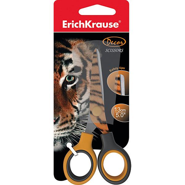 Ножницы Тигр 13 смШкольные аксессуары<br>Характеристики ножниц Тигр 13 см:<br><br>• возраст: от 5 лет<br>• пол: для мальчиков и девочек<br>• цвет: сиреневый<br>• тип: ножницы для левшей<br>• материал: нержавеющая сталь, пластик<br>• размеры: 13 см<br>• размер упаковки: 8 см х 18 см х 1 см<br>• упаковка: блистер<br>• вес в упаковке: 43 г<br>• бренд: Erich Krause<br>• страна: Китай<br><br>Ножницы Erich Krause Тигр идеально подойдут для использования в офисе и дома. Безопасные закругленные лезвия выполнены из высококачественной нержавеющей стали. На режущее полотно нанесен яркий рисунок в виде тигрового окраса. Прочные пластиковые ручки гарантируют комфорт и надежность во время работы. <br><br>Ножницы Тигр 13 см торговой марки Erich Krauseможно купить в нашем интернет-магазине.<br><br>Ширина мм: 80<br>Глубина мм: 180<br>Высота мм: 10<br>Вес г: 43<br>Возраст от месяцев: 60<br>Возраст до месяцев: 216<br>Пол: Унисекс<br>Возраст: Детский<br>SKU: 5409196