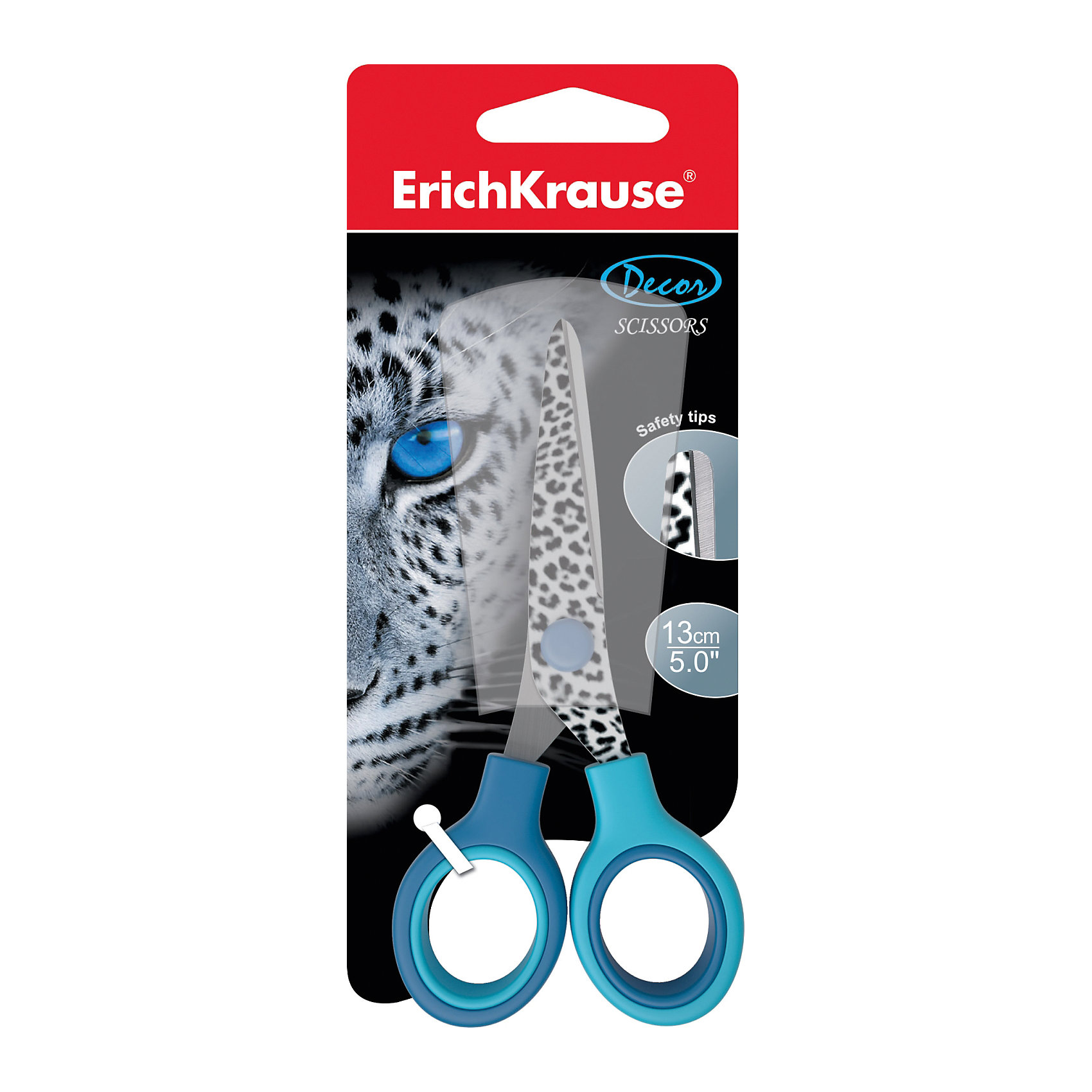 Ножницы Ирбис 13 смШкольные аксессуары<br>Характеристики ножниц Ирбис:<br><br>• возраст: от 5 лет<br>• пол: для мальчиков и девочек<br>• цвет: голубой<br>• тип: многоцелевые ножницы<br>• материал: нержавеющая сталь, пластик<br>• размеры: 13 см<br>• размер упаковки: 18 x 7 x 2 см<br>• упаковка: блистер<br>• вес в упаковке: 35 г<br>• бренд: Erich Krause<br>• страна: Китай<br><br>Ножницы торговой марки Erich Krause Ирбис идеально подойдут для использования в офисе и дома. Безопасные закругленные лезвия выполнены из высококачественной нержавеющей стали. На режущее полотно нанесен яркий анималистичный принт. Прочные пластиковые ручки гарантируют комфорт и надежность во время работы. <br><br>Ножницы Ирбис 13 см торговой марки Erich Krause можно купить в нашем интернет-магазине.<br><br>Ширина мм: 80<br>Глубина мм: 180<br>Высота мм: 10<br>Вес г: 43<br>Возраст от месяцев: 60<br>Возраст до месяцев: 216<br>Пол: Мужской<br>Возраст: Детский<br>SKU: 5409198