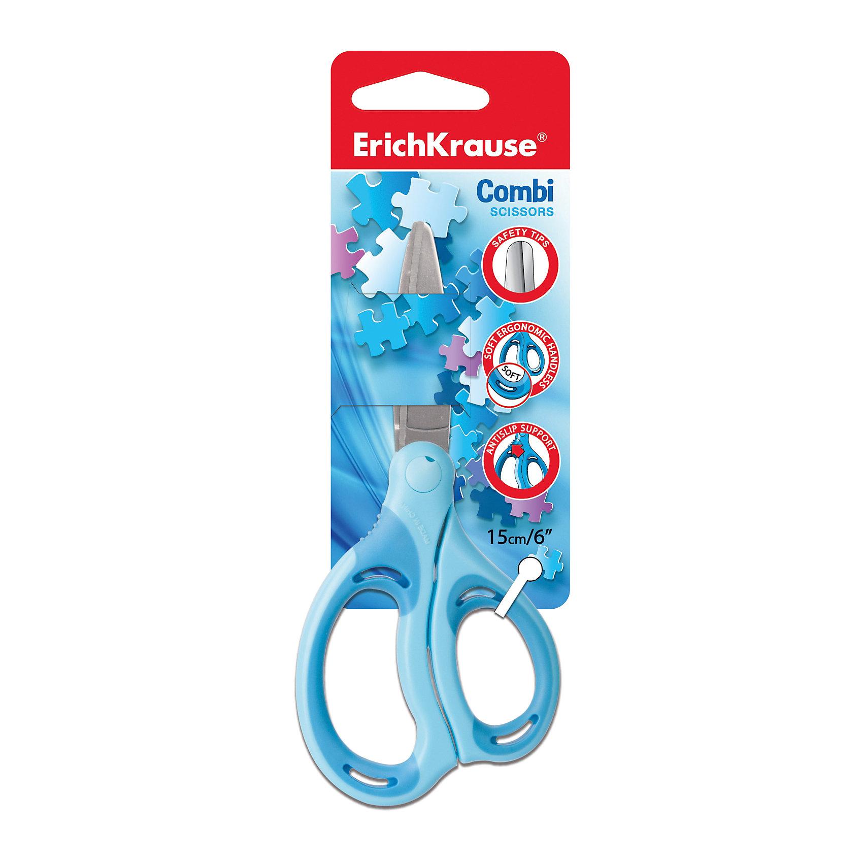 Ножницы Combi 15 смХарактеристики ножниц Combi 15 см:<br><br>• возраст: от 7 лет<br>• пол: для мальчиков и девочек<br>• материал: сталь, пластик, резина.<br>• упаковка: картонная подложка.<br>• размер ножниц: 15 см.<br>• размер упаковки: 7 x 19 x 1 см.<br>• бренд: Erich Krause<br>• страна обладатель бренда: Россия.<br><br>Небольшие ножницы с эргономичной ручкой выполнены из качественной стали и пластика со специальными прорезиненными антискользящими вставками, которые обеспечат ребенку правильное расположения изделия в руке. Для безопасности ребенка, ножницы имеют закругленные кончики. Лезвия хорошо режут бумагу и тонкий картон, они достаточно компактные и помещаются в стандартный пенал. Легкий и удобный инструмент для вырезания просто незаменим на уроках и дома.<br><br>Ножницы Combi 15 см торговой марки Erich Krause можно купить в нашем интернет-магазине.<br><br>Ширина мм: 70<br>Глубина мм: 190<br>Высота мм: 10<br>Вес г: 42<br>Возраст от месяцев: 60<br>Возраст до месяцев: 216<br>Пол: Унисекс<br>Возраст: Детский<br>SKU: 5409201