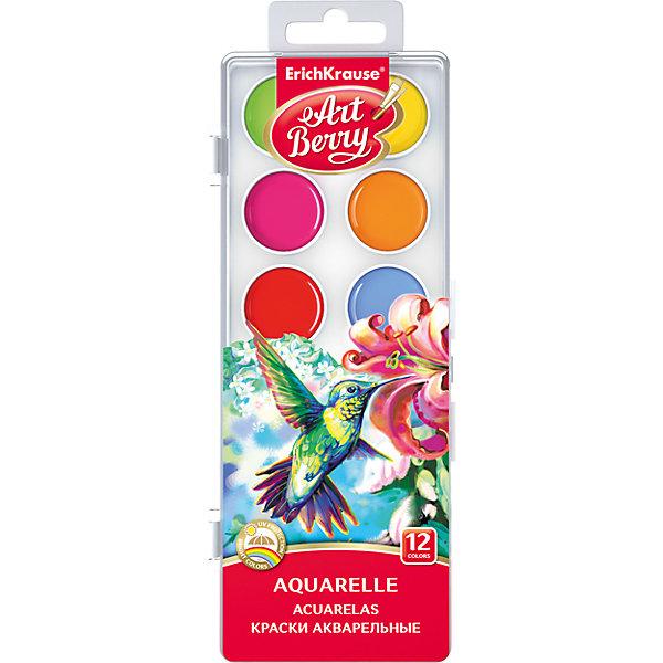 Краски акварельные ArtBerry, 12 цветов с УФ защитой яркостиРисование и лепка<br>Характеристики акварельных красок ArtBerry:<br><br>• возраст: от 5 лет<br>• пол: для мальчиков и девочек<br>• комплект: 12 красок в пластиковом боксе.<br>• материал: пластик, краситель, связующее вещество.<br>• размер упаковки: 18.5х7х1 см.<br>• упаковка: пластиковая коробка.<br>• тип: акварельные полусухие.<br>• количество цветов: 12.<br>• цвет: два оттенка зеленого, голубой, синий, коричневый, черный, белый, желтый, оранжевый, фуксия, красный, бордовый.<br>• бренд: Erich Krause<br>• страна обладатель бренда: Россия.<br><br>Акварельные краски с УФ-защитой яркости. Цвета легко смешиваются и сочетаются между собой, равномерно ложатся на бумагу, обладают лучшей цветопередачей и не выгорают на солнце благодаря УФ-защите. Срок годности не ограничен.<br><br>Акварельные краски ArtBerry торговой марки Erich Krause  можно купить в нашем интернет-магазине.<br>Ширина мм: 104; Глубина мм: 205; Высота мм: 13; Вес г: 89; Возраст от месяцев: 60; Возраст до месяцев: 216; Пол: Унисекс; Возраст: Детский; SKU: 5409202;