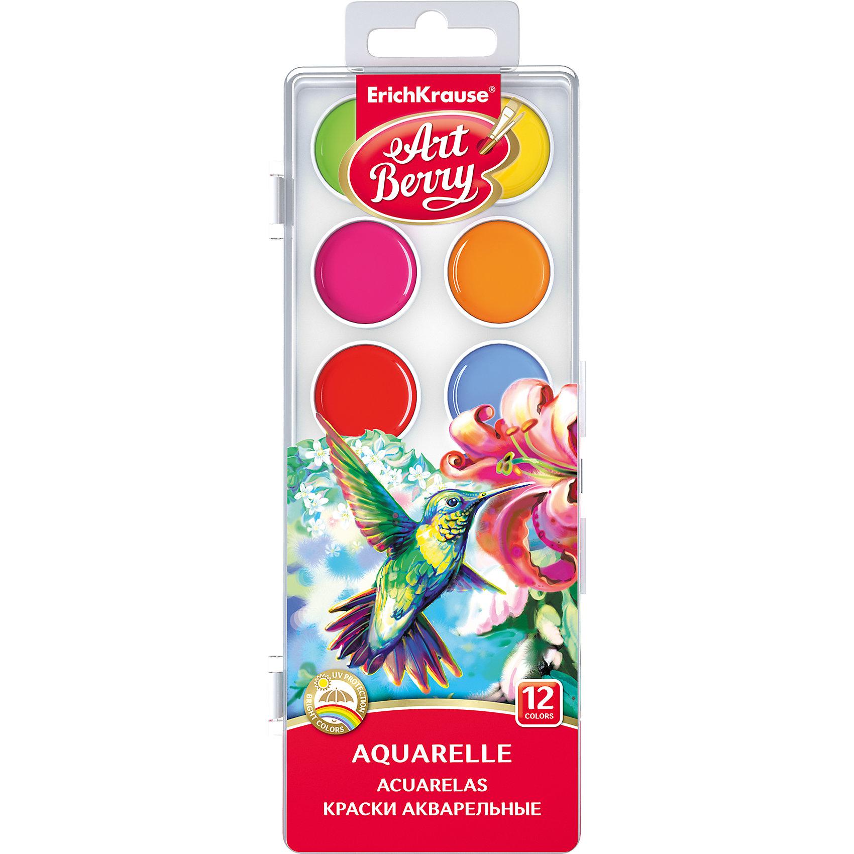 Краски акварельные ArtBerry, 12 цветов с УФ защитой яркостиРисование и лепка<br>Характеристики акварельных красок ArtBerry:<br><br>• возраст: от 5 лет<br>• пол: для мальчиков и девочек<br>• комплект: 12 красок в пластиковом боксе.<br>• материал: пластик, краситель, связующее вещество.<br>• размер упаковки: 18.5х7х1 см.<br>• упаковка: пластиковая коробка.<br>• тип: акварельные полусухие.<br>• количество цветов: 12.<br>• цвет: два оттенка зеленого, голубой, синий, коричневый, черный, белый, желтый, оранжевый, фуксия, красный, бордовый.<br>• бренд: Erich Krause<br>• страна обладатель бренда: Россия.<br><br>Акварельные краски с УФ-защитой яркости. Цвета легко смешиваются и сочетаются между собой, равномерно ложатся на бумагу, обладают лучшей цветопередачей и не выгорают на солнце благодаря УФ-защите. Срок годности не ограничен.<br><br>Акварельные краски ArtBerry торговой марки Erich Krause  можно купить в нашем интернет-магазине.<br><br>Ширина мм: 104<br>Глубина мм: 205<br>Высота мм: 13<br>Вес г: 89<br>Возраст от месяцев: 60<br>Возраст до месяцев: 216<br>Пол: Унисекс<br>Возраст: Детский<br>SKU: 5409202