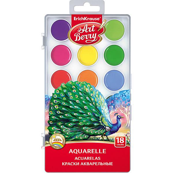 Краски акварельные ArtBerry, 18 цветов с УФ защитой яркостиРисование и лепка<br>Характеристики акварельных красок ArtBerry:<br><br>• возраст: от 5 лет<br>• пол: для мальчиков и девочек<br>• комплект: 18 красок в пластиковом боксе.<br>• материал: пластик, краситель, связующее вещество.<br>• размер упаковки: 18.5х7х1 см.<br>• упаковка: пластиковая коробка.<br>• тип: акварельные полусухие.<br>• количество цветов: 18.<br>• бренд: Erich Krause<br>• страна обладатель бренда: Россия.<br><br>Акварельные краски ArtBerry от производителя Erich Krause предназначены для творчества детей старше 3 лет и имеют безопасный состав. Особая формула защищает рисунок от выцветания при попадании солнечных лучей, поэтому можно без опасений размещать выставку рисунков на стене. <br><br>Цвета хорошо смешиваются между собой, позволяя получить множество новых оттенков. Краски помещаются в белые палитры и защищаются пластиковой упаковкой с европодвесом. При соприкосновении с водой краски приобретают оптимальную консистенцию, легко набираются на кисть и не растекаются.<br><br>Акварельные краски ArtBerry торговой марки Erich Krause  можно купить в нашем интернет-магазине.<br><br>Ширина мм: 90<br>Глубина мм: 242<br>Высота мм: 15<br>Вес г: 130<br>Возраст от месяцев: 60<br>Возраст до месяцев: 216<br>Пол: Унисекс<br>Возраст: Детский<br>SKU: 5409203