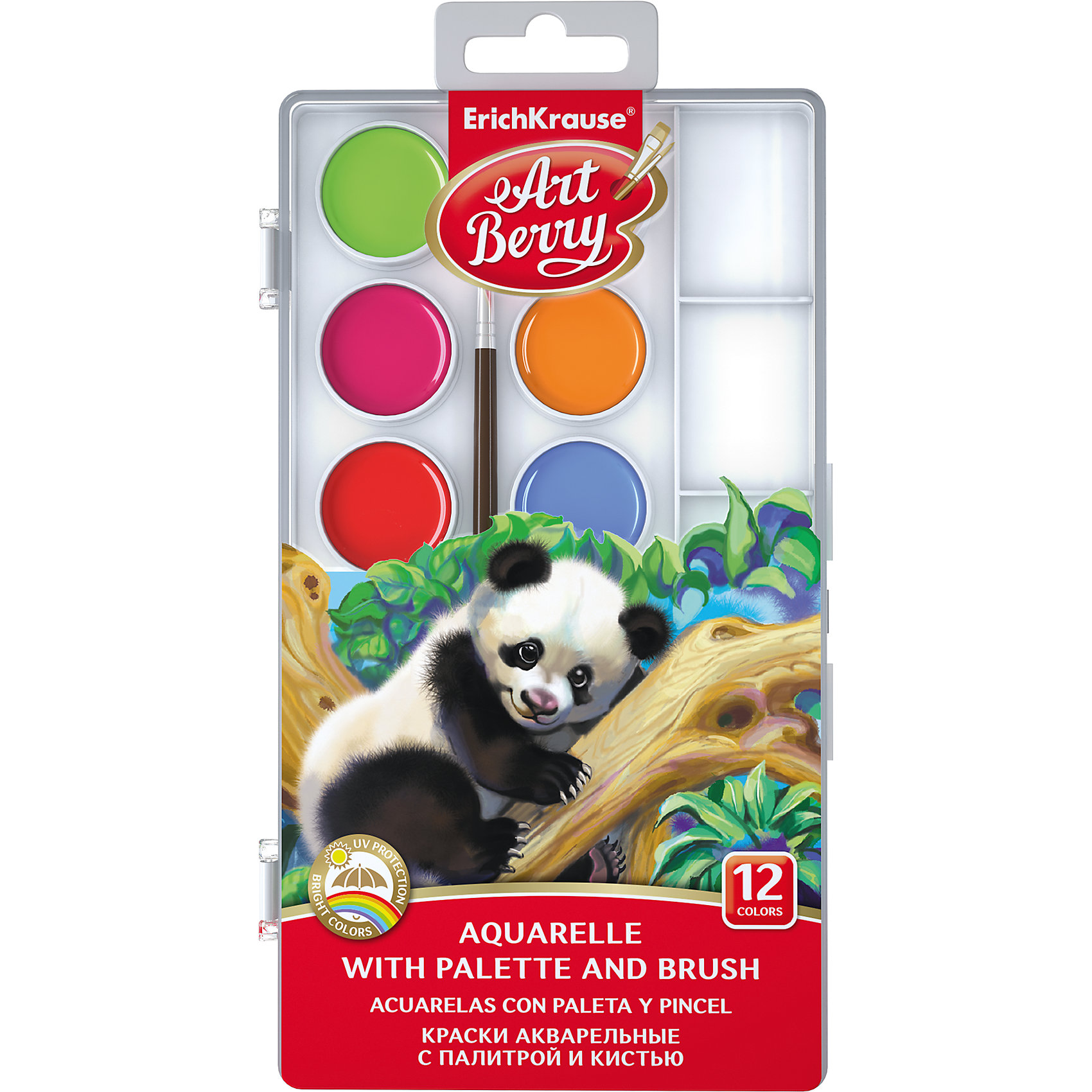 Краски акварельные ArtBerry, 12 цветов с УФ защитой яркости, с палитрой и кистьюРисование и лепка<br>Характеристики акварельных красок ArtBerry:<br><br>• возраст: от 5 лет<br>• пол: для мальчиков и девочек<br>• материал: пластик, краситель, связующее вещество.<br>• размер упаковки: 18.5х7х1 см.<br>• упаковка: пластиковая коробка.<br>• тип: акварельные полусухие.<br>• количество цветов: 12.<br>• бренд: Erich Krause<br>• страна обладатель бренда: Россия.<br><br>Краски акварельные ArtBerry легко развести небольшим количеством воды. Равномерно распределяется по поверхности. Высокое содержание цветового пигмента дает как интенсивные так и полупрозрачные оттенки. С помощью акварельных красок можно наблюдать интересные переливы цвета, создавая простые или сложные рисунки. Акварельные краски подойдут и малышам и взрослым для рисования дома, в школе, в художественных студиях, для профессиональных художников. <br><br>Акварельные краски ArtBerry с палитрой и кистью торговой марки Erich Krause  можно купить в нашем интернет-магазине.<br><br>Ширина мм: 107<br>Глубина мм: 204<br>Высота мм: 13<br>Вес г: 113<br>Возраст от месяцев: 60<br>Возраст до месяцев: 216<br>Пол: Унисекс<br>Возраст: Детский<br>SKU: 5409204
