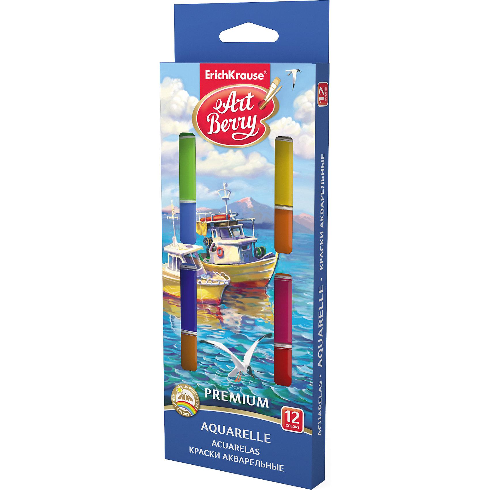 Краски акварельные ArtBerry Премиум, 12 цветов с УФ защитой яркостиХарактеристики акварельных красок ArtBerry Премиум :<br><br>• возраст: от 5 лет<br>• пол: для мальчиков и девочек<br>• материал: пластик, краситель, связующее вещество.<br>• размер упаковки: 18.5 х 7 х 1 см.<br>• упаковка: картонная коробка.<br>• тип: акварельные полусухие.<br>• количество цветов: 12.<br>• бренд: Erich Krause<br>• страна обладатель бренда: Россия.<br><br>Акварельные краски ArtBerry серии Premium с УФ защитой с кюветами увеличенного объема и обновленной цветовой палитрой представлены в практичном пенале. Конструкция пенала, позволяет загибать крышку под кюветы, а также легко снимать с её и использовать в качестве палитры для смешивания красок.<br><br>Акварельные краски ArtBerry Премиум торговой марки Erich Krause  можно купить в нашем интернет-магазине.<br><br>Ширина мм: 90<br>Глубина мм: 242<br>Высота мм: 16<br>Вес г: 154<br>Возраст от месяцев: 60<br>Возраст до месяцев: 216<br>Пол: Унисекс<br>Возраст: Детский<br>SKU: 5409206