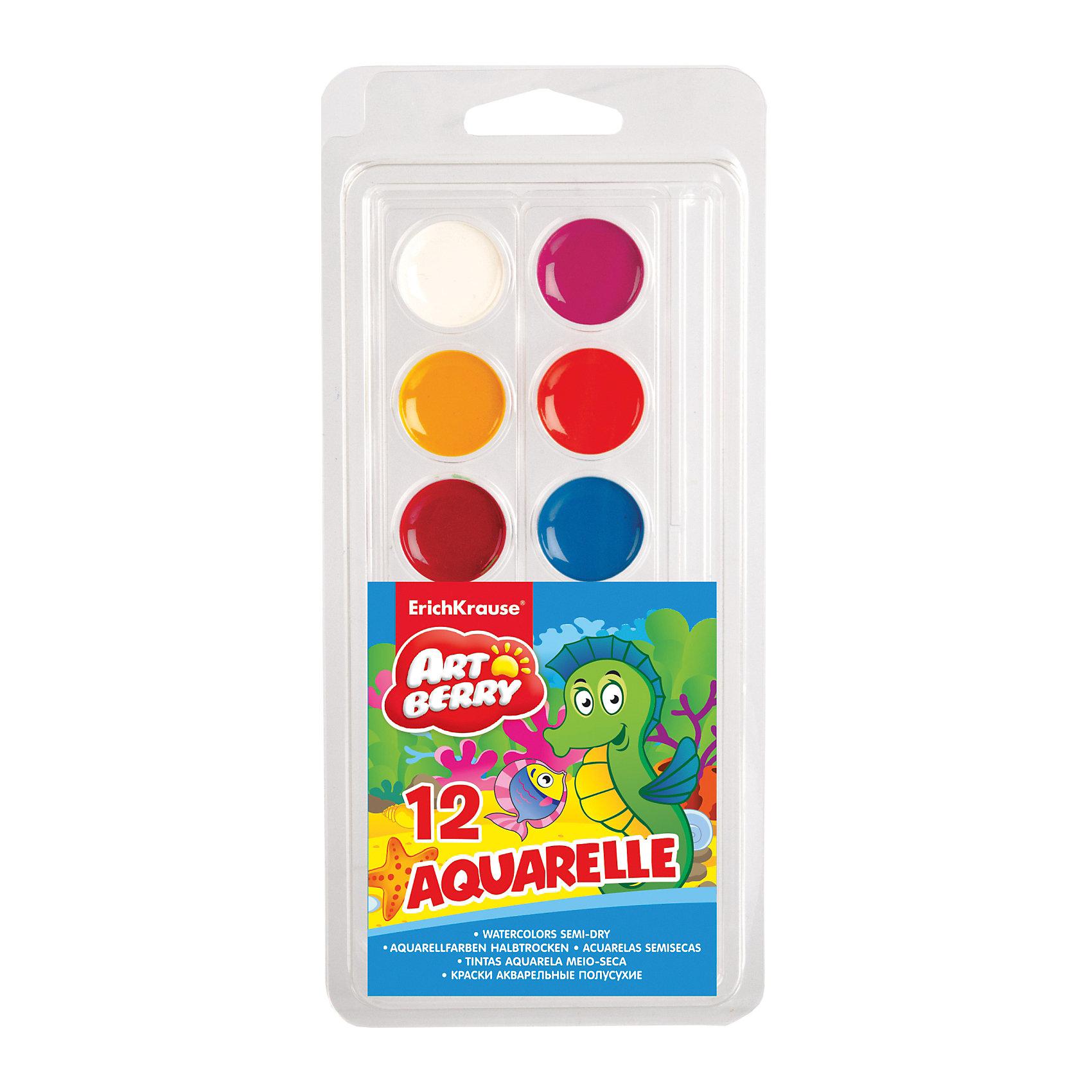 Краски акварельные Artberry, 12 цветовХарактеристики акварельных красок Artberry:<br><br>• возраст: от 5 лет<br>• пол: для мальчиков и девочек<br>• комплект: 12 красок в пластиковом боксе.<br>• материал: пластик, краситель, связующее вещество.<br>• размер упаковки: 23.5х9х1 см.<br>• упаковка: пластиковая коробка.<br>• тип: акварельные полусухие.<br>• количество цветов: 12.<br>• бренд: Erich Krause<br>• страна обладатель бренда: Россия.<br><br>Медовая акварель Erich Krause с кисточкой в комплекте — отличный подарок начинающему живописцу. Все краски в наборе яркие, стойкие, хорошо смешиваются между собой, имеют насыщенные цвета и значительное время не выгорают под воздействием солнечного света, так что рисунок, сделанный Вашим ребенком долго будет радовать его и Вас. Для удобства акварель разложена в гибкие полоски с чашечками для каждого цвета.<br><br>Акварельные краски Artberry торговой марки Erich Krause  можно купить в нашем интернет-магазине.<br><br>Ширина мм: 100<br>Глубина мм: 220<br>Высота мм: 10<br>Вес г: 60<br>Возраст от месяцев: 60<br>Возраст до месяцев: 216<br>Пол: Унисекс<br>Возраст: Детский<br>SKU: 5409209