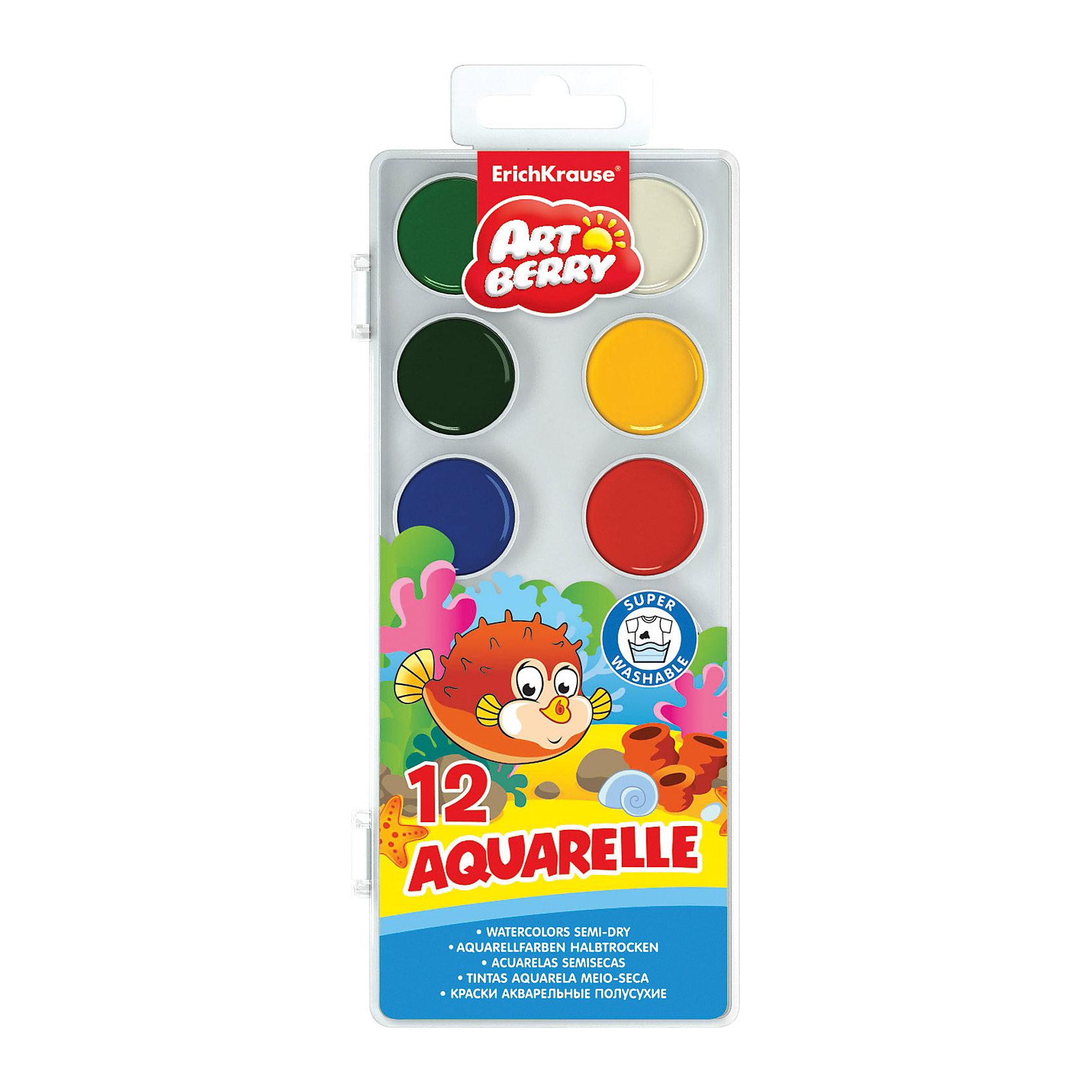 Краски акварельные Artberry, 12 цветовХарактеристики акварельных красок Artberry:<br><br>• возраст: от 5 лет<br>• пол: для мальчиков и девочек<br>• комплект: 12 красок в пластиковом боксе.<br>• материал: пластик, краситель, связующее вещество.<br>• размер упаковки: 23.5х9х1 см.<br>• упаковка: пластиковая коробка.<br>• тип: акварельные полусухие.<br>• количество цветов: 12.<br>• бренд: Erich Krause<br>• страна обладатель бренда: Россия.<br><br>Краски в пластиковой коробке соде ржат стойкие и яркие пигменты, что позволяет получать насыщенные изображения и достигать ощущения бархатистости цвета. Краски изготовлены с добавлением натуральной патоки и пчелиного меда. Легко смываются водой и легко набираются на кисть. Хорошо смешиваются между собой.<br><br>Акварельные краски Artberry торговой марки Erich Krause   можно купить в нашем интернет-магазине.<br><br>Ширина мм: 78<br>Глубина мм: 205<br>Высота мм: 205<br>Вес г: 90<br>Возраст от месяцев: 60<br>Возраст до месяцев: 216<br>Пол: Унисекс<br>Возраст: Детский<br>SKU: 5409210
