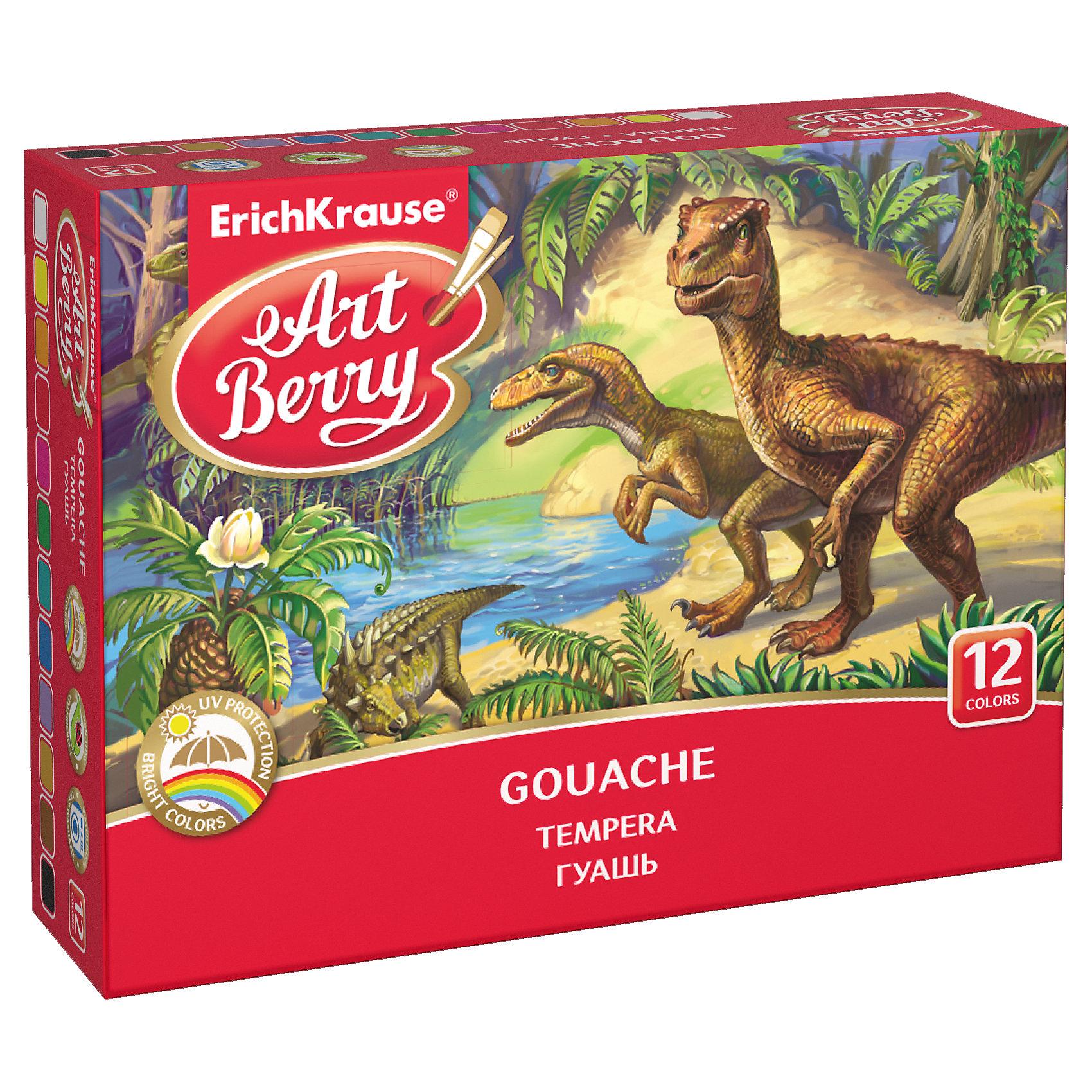 Гуашь ArtBerry с УФ защитой яркости, 12 цветов по 20млРисование и лепка<br>Характеристики гуаши ArtBerry 12 цветов:<br><br>• возраст: от 5 лет<br>• пол: для мальчиков и девочек<br>• комплект: 12 баночек с краской.<br>• материал: пластик, краситель, связующее вещество.<br>• размер упаковки: 11.5x11.5x4 см.<br>• упаковка: картонная коробка<br>• объем баночки: 20 мл.<br>• назначение: детское творчество, художественно-оформительские работы, роспись, живопись.<br>• бренд: Erich Krause<br>• страна обладатель бренда: Россия.<br><br>Канцтовары всегда будут пользоваться спросом у покупателей разных возрастных категорий. Они нужны в детских садах, школах, университетах. Яркие и насыщенные цвета гуаши ArtBerry с УФ защитой яркости легко смешиваются, образуя новые оттенки. Можно использовать не только на бумаге, но и на других поверхностях, в том числе раскрашивать поделки из пластилина, картона, фанеры и т.п. Баночки легко открываются и закрываются.<br><br>Гуашь ArtBerry с УФ защитой яркости 12 цветов торговой марки Erich Krause можно купить в нашем интернет-магазине.<br><br>Ширина мм: 157<br>Глубина мм: 115<br>Высота мм: 40<br>Вес г: 387<br>Возраст от месяцев: 60<br>Возраст до месяцев: 216<br>Пол: Унисекс<br>Возраст: Детский<br>SKU: 5409213