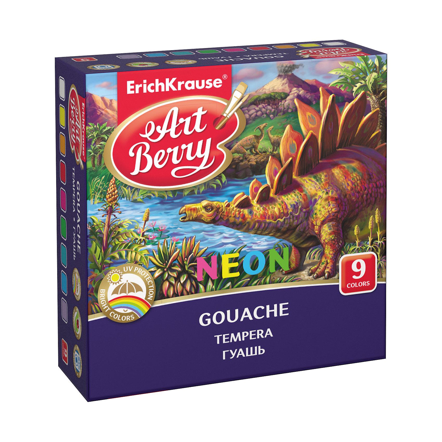 Гуашь ArtBerry Неон с УФ защитой яркости, 9 цветов по 20млХарактеристики гуаши ArtBerry Неон 9 цветов:<br><br>• возраст: от 5 лет<br>• пол: для мальчиков и девочек<br>• комплект: 6 баночек с краской.<br>• материал: пластик, краситель, связующее вещество.<br>• размер упаковки: 12.5x8x4.5 см.<br>• упаковка: картонная коробка<br>• объем баночки: 20 мл.<br>• назначение: детское творчество, художественно-оформительские работы, роспись, живопись.<br>• бренд: Erich Krause<br>• страна обладатель бренда: Россия<br><br>Яркие и насыщенные цвета гуаши легко смешиваются, образуя новые оттенки. Можно использовать не только на бумаге, но и на других поверхностях, в том числе раскрашивать поделки из пластилина, картона, фанеры и т.п. Баночки легко открываются и закрываются. При высыхании краска приобретает матовую, бархатистую поверхность и совершенно безопасна при использовании. <br><br>Гуашь Artberry поможет вашему ребёнку создавать красивые яркие картинки, выдумывать невероятные сюжеты и воплощать их в реальность, развивая цветовое восприятие, зрительную память, воображение, мелкую моторику пальцев, ассоциативное, аналитическое и творческое мышление.<br><br>Гуашь ArtBerry Неон с УФ защитой яркости 9 цветов торговой марки Erich Krause можно купить в нашем интернет-магазине.<br><br>Ширина мм: 119<br>Глубина мм: 116<br>Высота мм: 40<br>Вес г: 254<br>Возраст от месяцев: 60<br>Возраст до месяцев: 216<br>Пол: Унисекс<br>Возраст: Детский<br>SKU: 5409214