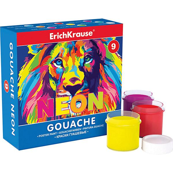 Гуашь Erich Krause Neon, 9 цветов по 20млРисование и лепка<br>Характеристики гуаши ArtBerry Neon, 9 цветов:<br><br>• возраст: от 5 лет<br>• пол: для мальчиков и девочек<br>• комплект: 9 баночек с краской.<br>• материал: пластик, краситель, связующее вещество.<br>• размер упаковки: 11.7x7.7x4 см.<br>• упаковка: картонная коробка<br>• объем баночки: 20 мл.<br>• назначение: детское творчество, художественно-оформительские работы, роспись, живопись.<br>• бренд: Erich Krause<br>• страна обладатель бренда: Россия<br><br>Erich Krause Гуашь Neon - блестящий старт для занятий творчеством, как дома, так и на школьных уроках. Нетоксичная формула абсолютно безопасна для использования, а высококачественный материал обеспечивает легкость нанесения и насыщенность неонового цвета в течение долгого времени. Каждый из шести цветов находится в удобной баночке с закручивающейся крышечкой, которая защитит содержимое от воздействия окружающей среды.<br><br>Гуашь Erich Krause Неон с УФ защитой яркости 9 цветов торговой марки Erich Krause можно купить в нашем интернет-магазине.<br><br>Ширина мм: 119<br>Глубина мм: 116<br>Высота мм: 40<br>Вес г: 254<br>Возраст от месяцев: 60<br>Возраст до месяцев: 216<br>Пол: Унисекс<br>Возраст: Детский<br>SKU: 5409215