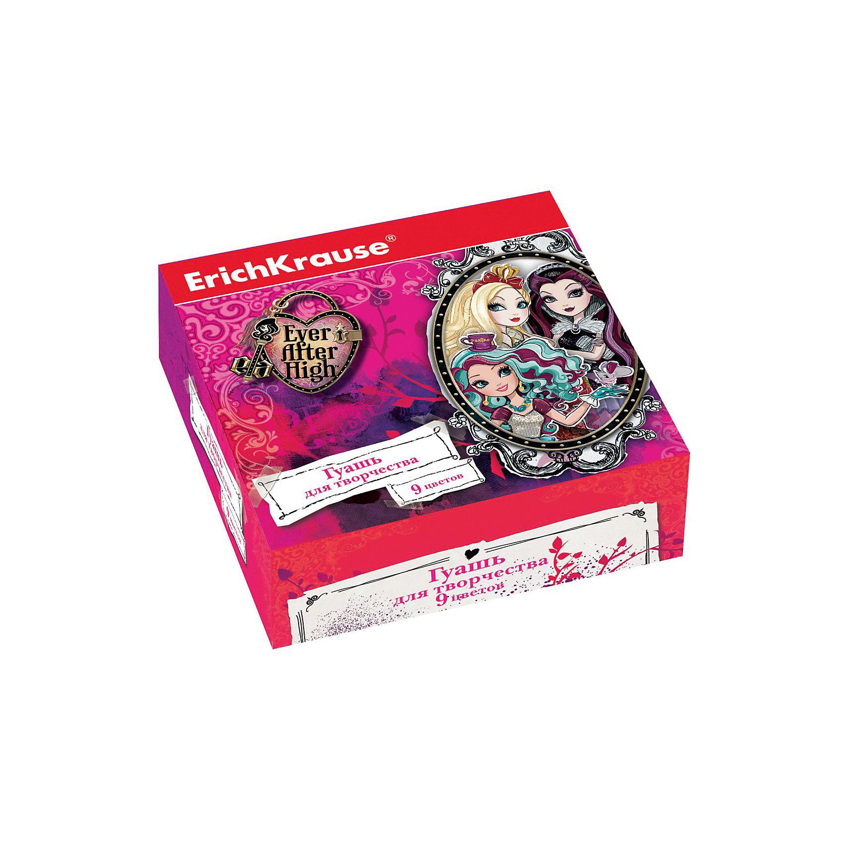 Гуашь Ever After High, 9 цветов по 20млEver After High<br>Характеристики гуаши Ever After High, 9 цветов:<br> <br>• возраст: от 5 лет<br>• пол : для девочек<br>• комплект: 9 баночек по 20 мл.<br>• материал: краски, пластик.<br>• размер упаковки: 15.5х11.5х4 см.<br>• упаковка: картонная коробка.<br>• вес: 0.4 кг.<br>• бренд: centrum<br>• страна обладатель бренда: Россия.<br><br>Гуашь Ever After High подходит для рисования и оформительских работ. В комплекте 9 насыщенных стойких цветов, краски пригодятся для росписи по дереву, камню, стеклу и другим поверхностям. Плотные черная и белая краски дают возможность рисовать на цветной бумаге. Стойкая гуашь легко отмывается и отстирывается, а красивый дизайн коробочки станет настоящим вдохновением для юной художницы.<br><br>Гуашь Ever After High 9 цветов торговой марки Erich Krause можно купить в нашем интернет-магазине.<br><br>Ширина мм: 119<br>Глубина мм: 116<br>Высота мм: 40<br>Вес г: 254<br>Возраст от месяцев: 60<br>Возраст до месяцев: 216<br>Пол: Женский<br>Возраст: Детский<br>SKU: 5409217