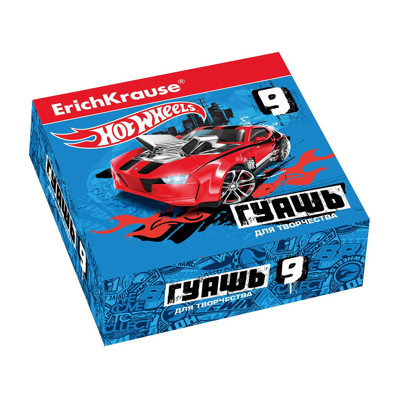 Гуашь Hot Wheels Super Car, 9 цветов по 20млХарактеристики гуаши Hot Wheels Super Car, 9 цветов:<br><br>• возраст: от 5 лет<br>• пол: для мальчиков<br>• комплект: 9 баночек по 20 мл.<br>• материал: краски, пластик.<br>• размер упаковки: 15.5х11.5х4 см.<br>• упаковка: картонная коробка.<br>• вес: 0.4 кг.<br>• бренд: производитель: Erichkrause<br>• страна обладатель бренда: Россия.<br><br>Гуашь Hot Wheels Super Car, торговой марки Erichkrause идеально подойдет для детского творчества. После высыхания поверхность имеет матово-бархатистую фактуру. Гуашь легко смывается водой.<br><br>Гуашь Hot Wheels Super Car 9 цветов торговой марки Erich Krause можно купить в нашем интернет-магазине.<br><br>Ширина мм: 119<br>Глубина мм: 116<br>Высота мм: 40<br>Вес г: 254<br>Возраст от месяцев: 60<br>Возраст до месяцев: 216<br>Пол: Мужской<br>Возраст: Детский<br>SKU: 5409218