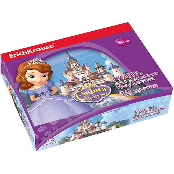 Гуашь Принцесса София, 12 цветов по 20млСофия Прекрасная<br>Характеристики гуаши Принцесса София 12 цветов:<br><br>• возраст: от 5 лет<br>• пол: для девочек<br>• комплект: 12 баночек по 20 мл.<br>• материал: краски, пластик.<br>• серия: Disney<br>• упаковка: картонная коробка.<br>• бренд: производитель: Erich Krause<br>• страна обладатель бренда: Россия.<br><br>Задатки творчества закладываются с раннего детства, поэтому так важно уделять внимание развитию креативных способностей и мышления у малышей. Гуашь Принцесса София, это тот товар, который поможет Вашему ребенку открывать для себя что-то новое, развиваться и совершенствоваться. Творчество становится все более популярным во всем мире у людей любого возраста и профессии. <br><br>Гуашь Принцесса София торговой марки Erich Krause  можно купить в нашем интернет-магазине.<br>Ширина мм: 157; Глубина мм: 115; Высота мм: 40; Вес г: 393; Возраст от месяцев: 60; Возраст до месяцев: 216; Пол: Женский; Возраст: Детский; SKU: 5409220;