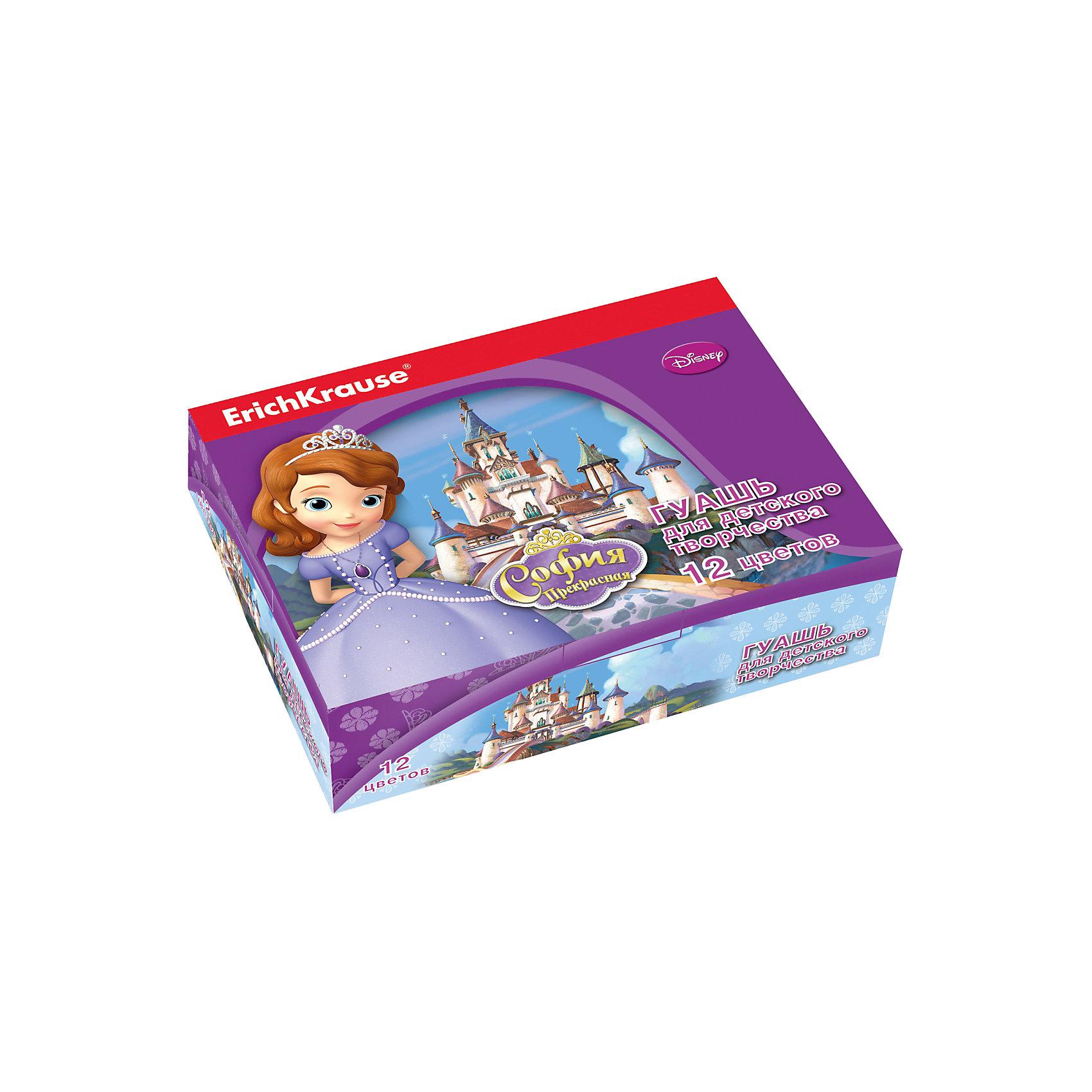 Гуашь Принцесса София, 12 цветов по 20млСофия Прекрасная<br>Характеристики гуаши Принцесса София 12 цветов:<br><br>• возраст: от 5 лет<br>• пол: для девочек<br>• комплект: 12 баночек по 20 мл.<br>• материал: краски, пластик.<br>• серия: Disney<br>• упаковка: картонная коробка.<br>• бренд: производитель: Erich Krause<br>• страна обладатель бренда: Россия.<br><br>Задатки творчества закладываются с раннего детства, поэтому так важно уделять внимание развитию креативных способностей и мышления у малышей. Гуашь Принцесса София, это тот товар, который поможет Вашему ребенку открывать для себя что-то новое, развиваться и совершенствоваться. Творчество становится все более популярным во всем мире у людей любого возраста и профессии. <br><br>Гуашь Принцесса София торговой марки Erich Krause  можно купить в нашем интернет-магазине.<br><br>Ширина мм: 157<br>Глубина мм: 115<br>Высота мм: 40<br>Вес г: 393<br>Возраст от месяцев: 60<br>Возраст до месяцев: 216<br>Пол: Женский<br>Возраст: Детский<br>SKU: 5409220