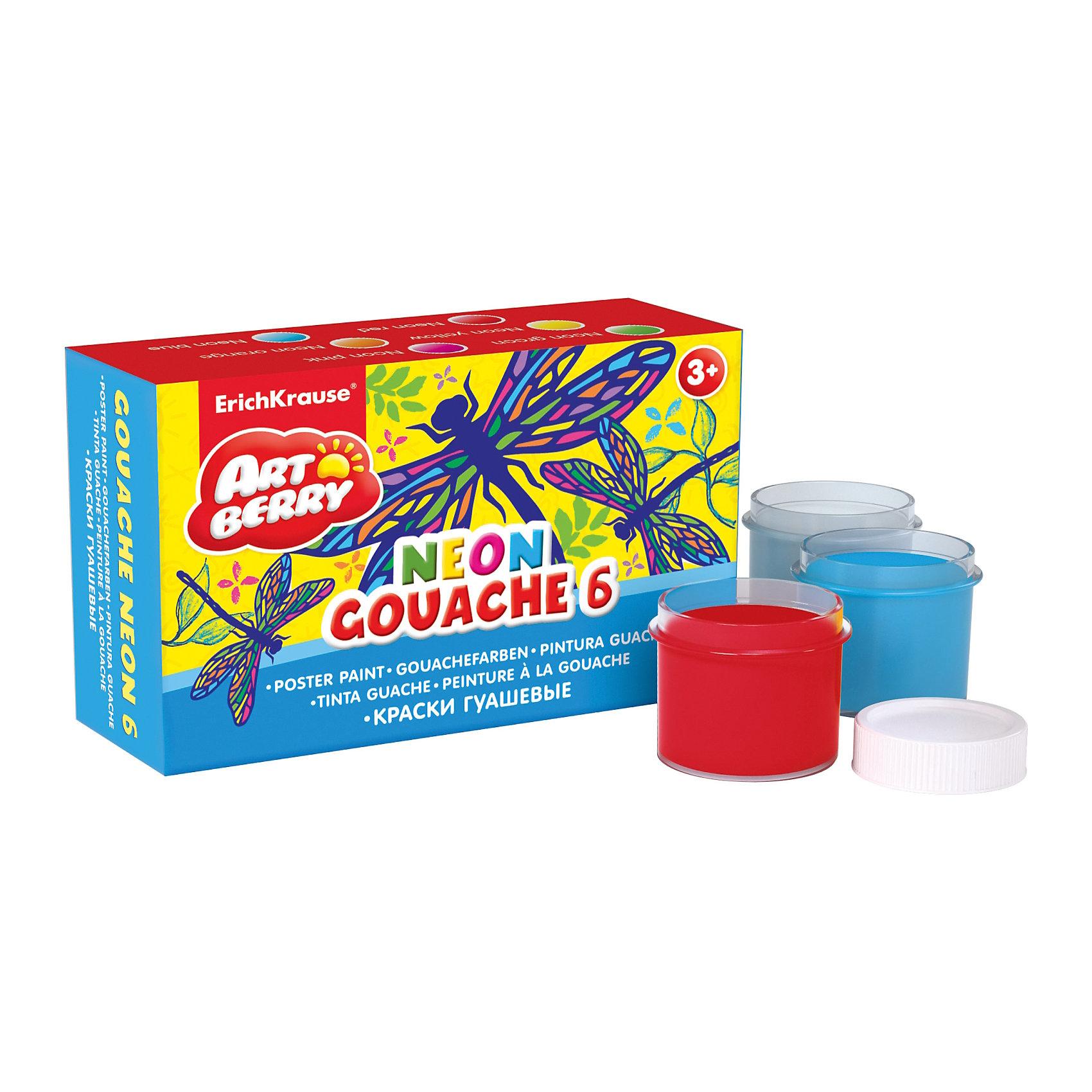 Гуашь Artberry Neon, 6 цветов по 20млХарактеристики гуаши Artberry Neon:<br><br>• возраст: от 5 лет<br>• пол: для мальчиков и девочек<br>• комплект: 6 баночек по 20 мл.<br>• материал: краски, пластик.<br>• упаковка: картонная коробка.<br>• размер упаковки : 12x8.5x4.5 см<br>• бренд: производитель: Erich Krause<br>• страна обладатель бренда: Россия.<br><br>Краски российской торговой марки Erich Krause Artberry Neon изготовлены из качественных материалов. Краски абсолютно безопасны при использовании и легко смываются водой. Всего 6 гуашевых красок с насыщенными неоновыми цветами, и каждая коробочка с гуашью отдельно упакована в термоусадочную пленку. Краски находятся в картонной коробке, которая не даст им засохнуть. Яркая и практичная гуашь Erich Krause Artberry Neon с продуманной палитрой цветов непременно понравится Вашему юному художнику.<br><br>Гуашь Artberry Neon торговой марки Erich Krause  можно купить в нашем интернет-магазине.<br><br>Ширина мм: 121<br>Глубина мм: 78<br>Высота мм: 40<br>Вес г: 191<br>Возраст от месяцев: 60<br>Возраст до месяцев: 216<br>Пол: Унисекс<br>Возраст: Детский<br>SKU: 5409221