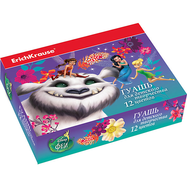 Гуашь Феи и невиданный зверь, 12 цветов по 20млФеи Дисней<br>Характеристики гуаши Artberry Neon:<br><br>• возраст: от 5 лет<br>• пол: для девочек<br>• комплект: 12 баночек по 20 мл.<br>• материал: краски, пластик.<br>• упаковка: картонная коробка.<br>• размер упаковки : 12x8.5x4.5 см<br>• серия: Disney<br>• бренд: производитель: Erich Krause<br>• страна обладатель бренда: Россия.<br><br>Гуашь в яркой упаковке с изображением героев популярного мультфильма понравится юным художникам. Краска легко ложится не только на бумагу, но и на другие поверхности для рисования - картон, дерево, камень, ткань, а ее цвет остается насыщенным даже после высыхания. При попадании на кожу или одежду, состав легко смывается водой. В наборе 12 цветов, каждая краска находится в баночке объемом 20 мл. С гуашью Erich Krause простор для творчества неограничен!<br><br>Гуашь Феи и невиданный зверь торговой марки Erich Krause  можно купить в нашем интернет-магазине.<br>Ширина мм: 157; Глубина мм: 115; Высота мм: 40; Вес г: 393; Возраст от месяцев: 60; Возраст до месяцев: 216; Пол: Женский; Возраст: Детский; SKU: 5409222;