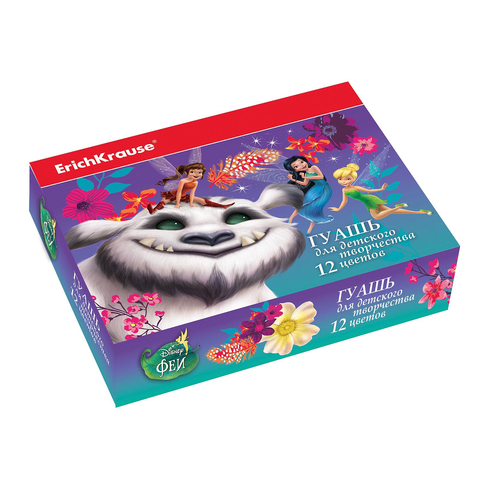 Гуашь Феи и невиданный зверь, 12 цветов по 20млФеи Дисней<br>Характеристики гуаши Artberry Neon:<br><br>• возраст: от 5 лет<br>• пол: для девочек<br>• комплект: 12 баночек по 20 мл.<br>• материал: краски, пластик.<br>• упаковка: картонная коробка.<br>• размер упаковки : 12x8.5x4.5 см<br>• серия: Disney<br>• бренд: производитель: Erich Krause<br>• страна обладатель бренда: Россия.<br><br>Гуашь в яркой упаковке с изображением героев популярного мультфильма понравится юным художникам. Краска легко ложится не только на бумагу, но и на другие поверхности для рисования - картон, дерево, камень, ткань, а ее цвет остается насыщенным даже после высыхания. При попадании на кожу или одежду, состав легко смывается водой. В наборе 12 цветов, каждая краска находится в баночке объемом 20 мл. С гуашью Erich Krause простор для творчества неограничен!<br><br>Гуашь Феи и невиданный зверь торговой марки Erich Krause  можно купить в нашем интернет-магазине.<br><br>Ширина мм: 157<br>Глубина мм: 115<br>Высота мм: 40<br>Вес г: 393<br>Возраст от месяцев: 60<br>Возраст до месяцев: 216<br>Пол: Женский<br>Возраст: Детский<br>SKU: 5409222