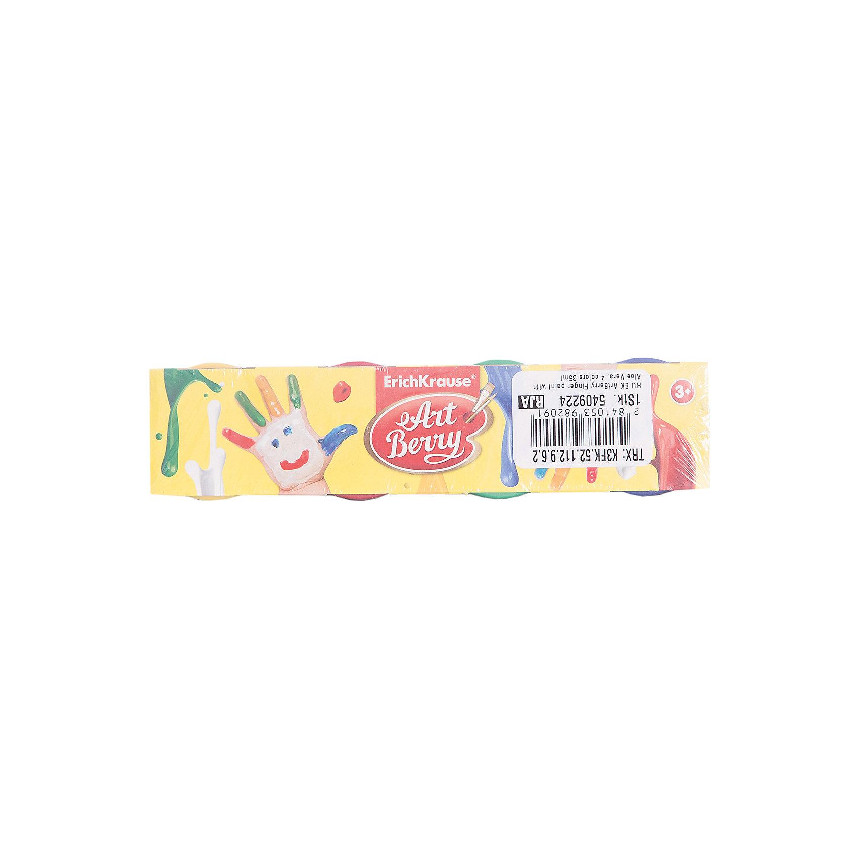 Пальчиковые краски ArtBerry с Алоэ Вера, 4 цвета по 35млРисование<br>Характеристики товара:<br><br>• материал упаковки: картон <br>• в комплект входит: краски<br>• количество цветов: 4<br>• треугольная форма<br>• объём каждой баночки: 35 мл<br>• возраст: от 3 лет<br>• вес: 241 г<br>• габариты упаковки: 22х4х4,5 см<br>• страна производитель: Китай<br><br>Пальчиковые краски – альтернативный вариант классическому рисованию кистью по бумаге. Рисование пальчиками подходит с самых малых лет. Краски не токсичны, не вызывают аллергии, легко отмываются от любых поверхностей.<br><br>Пальчиковые краски ArtBerry с Алоэ Вера, 4 цвета по 35мл можно купить в нашем интернет-магазине.<br><br>Ширина мм: 220<br>Глубина мм: 40<br>Высота мм: 45<br>Вес г: 241<br>Возраст от месяцев: 36<br>Возраст до месяцев: 2147483647<br>Пол: Унисекс<br>Возраст: Детский<br>SKU: 5409224