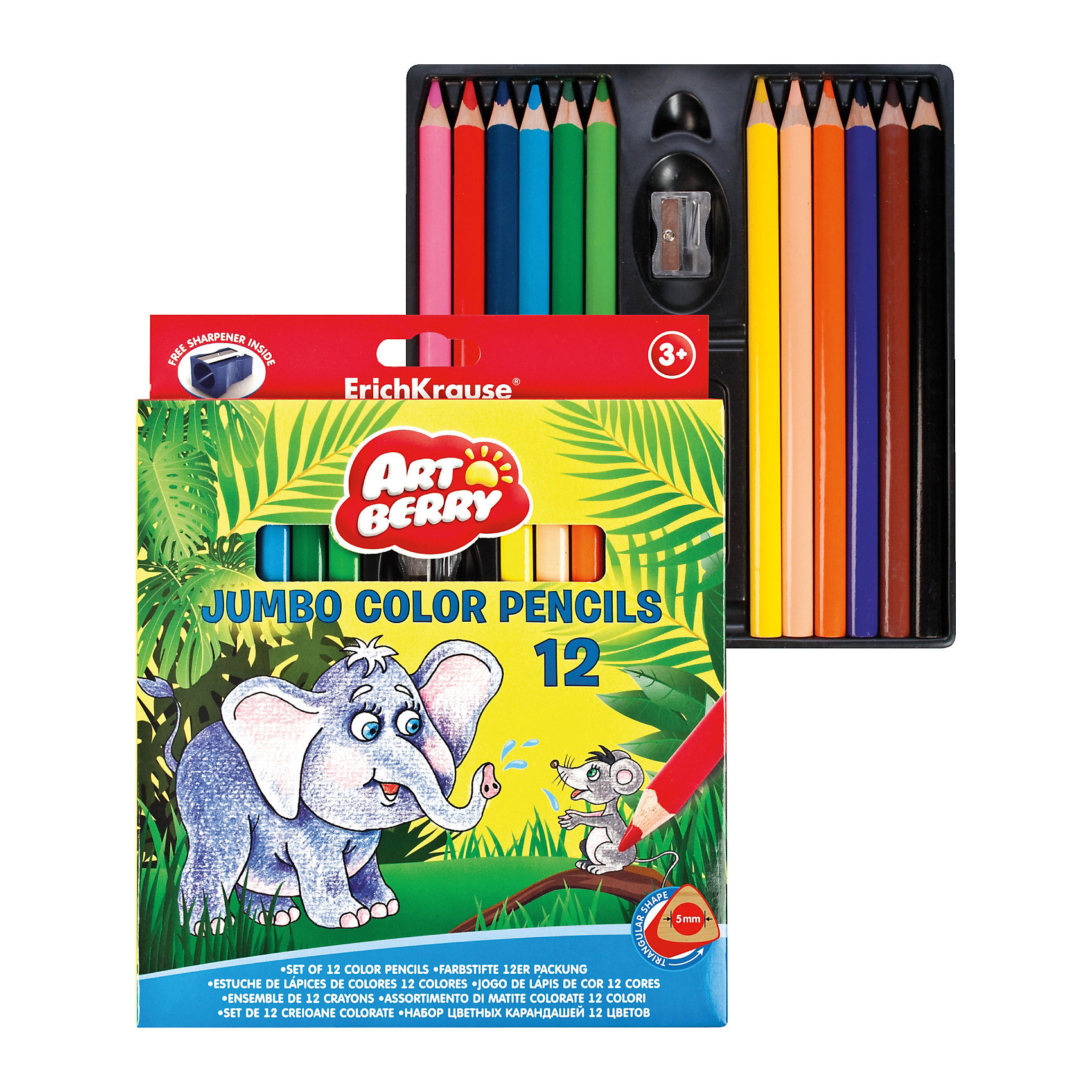 Цветные карандаши треугольные ArtBerry jumbo, 12 цветов + точилкаПисьменные принадлежности<br>Характеристики цветных карандашей треугольных ArtBerry jumbo:<br><br>• возраст: от 5 лет<br>• пол: для мальчиков и девочек<br>• комплект: 12 карандашей разного цвета, точилка.<br>• материал: дерево, металл.<br>• размер упаковки: 17.5x21.3x1.5 см.<br>• упаковка: картонная коробка.<br>• диаметр корпуса: 1 см.<br>• диаметр грифеля: 5 см.<br>• бренд: Erich Krause<br>• страна обладатель бренда: Россия.<br><br>Треугольные цветные карандаши обязательно пригодятся, когда надо будет разукрасить рисунок. В данный набор вошли карандаши с утолщенным корпусом и грифелем, специально разработанные для детей. Удобная форма корпуса позволяет рисовать не напрягая руки. Карандаши не ломаются при падении и не крошатся в процессе рисования. А для своевременной заточки стоит использовать точилку, которая также входит в комплект.<br><br>Рисунки, выполненные данными карандашами, со временем не теряют яркости, поскольку в состав грифелей входят особые пигменты, которые обеспечивают насыщенный цвет.<br><br>Цветные карандаши треугольные ArtBerry jumbo торговой марки Erich Krause  можно купить в нашем интернет-магазине.<br><br>Ширина мм: 175<br>Глубина мм: 213<br>Высота мм: 15<br>Вес г: 175<br>Возраст от месяцев: 60<br>Возраст до месяцев: 216<br>Пол: Унисекс<br>Возраст: Детский<br>SKU: 5409229