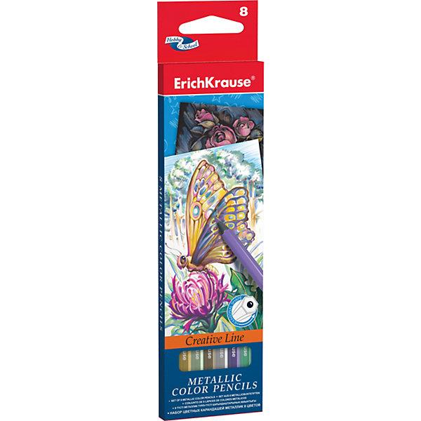 Цветные карандаши шестигранные ArtBerry Metallic, 8 цветовПисьменные принадлежности<br>Характеристики цветных шестигранных карандашей ArtBerry:<br><br>• возраст: от 5 лет<br>• пол: для мальчиков и девочек<br>• комплект: 8 карандаша разного цвета<br>• материал: дерево.<br>• упаковка: картонная коробка <br>• толщина грифеля: 3 мм.<br>• длина карандаша: 17.5 см.<br>• размеры упаковки: 18.5x6x1 см<br>• вес в упаковке : 55 г.<br>• бренд: Erich Krause<br>• страна обладатель бренда: Россия<br><br>Набор цветных карандашей торговой марки Erich Krause Metallic подойдет любому юному художнику. Карандаши легко и аккуратно затачиваются и имеют яркие насыщенные цвета. Мягкий грифель легко рисует на бумаге и не царапает ее. Карандаши имеют качественные стержни, не стираются и не выцветают со временем. А большая цветовая палитра позволит изобразить мир на бумаге в ярких тонах. <br><br>В наборе 8 цветных карандашей, изготовленных из натурального дерева, с диаметром грифеля 3 мм. Яркий и практичный набор Erich Krause Metallic с продуманной палитрой цветов непременно понравится вашему юному художнику. <br><br>Цветные карандаши шестигранные ArtBerry торговой марки Erich Krause  можно купить в нашем интернет-магазине.<br><br>Ширина мм: 70<br>Глубина мм: 10<br>Высота мм: 200<br>Вес г: 160<br>Возраст от месяцев: 60<br>Возраст до месяцев: 216<br>Пол: Унисекс<br>Возраст: Детский<br>SKU: 5409232