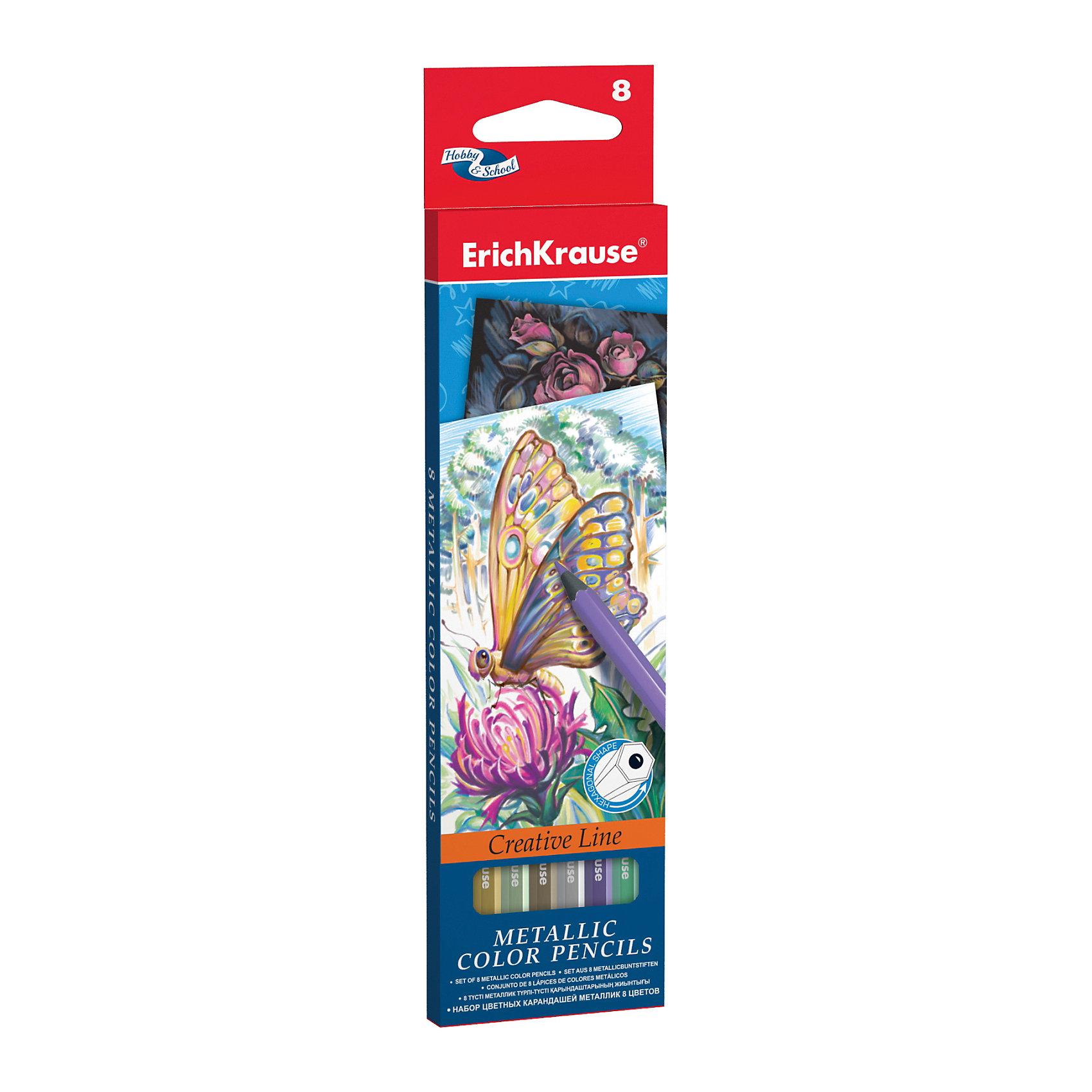 Цветные карандаши шестигранные ArtBerry Metallic, 8 цветовРисование<br>Характеристики цветных шестигранных карандашей ArtBerry:<br><br>• возраст: от 5 лет<br>• пол: для мальчиков и девочек<br>• комплект: 8 карандаша разного цвета<br>• материал: дерево.<br>• упаковка: картонная коробка <br>• толщина грифеля: 3 мм.<br>• длина карандаша: 17.5 см.<br>• размеры упаковки: 18.5x6x1 см<br>• вес в упаковке : 55 г.<br>• бренд: Erich Krause<br>• страна обладатель бренда: Россия<br><br>Набор цветных карандашей торговой марки Erich Krause Metallic подойдет любому юному художнику. Карандаши легко и аккуратно затачиваются и имеют яркие насыщенные цвета. Мягкий грифель легко рисует на бумаге и не царапает ее. Карандаши имеют качественные стержни, не стираются и не выцветают со временем. А большая цветовая палитра позволит изобразить мир на бумаге в ярких тонах. <br><br>В наборе 8 цветных карандашей, изготовленных из натурального дерева, с диаметром грифеля 3 мм. Яркий и практичный набор Erich Krause Metallic с продуманной палитрой цветов непременно понравится вашему юному художнику. <br><br>Цветные карандаши шестигранные ArtBerry торговой марки Erich Krause  можно купить в нашем интернет-магазине.<br><br>Ширина мм: 70<br>Глубина мм: 10<br>Высота мм: 200<br>Вес г: 160<br>Возраст от месяцев: 60<br>Возраст до месяцев: 216<br>Пол: Унисекс<br>Возраст: Детский<br>SKU: 5409232