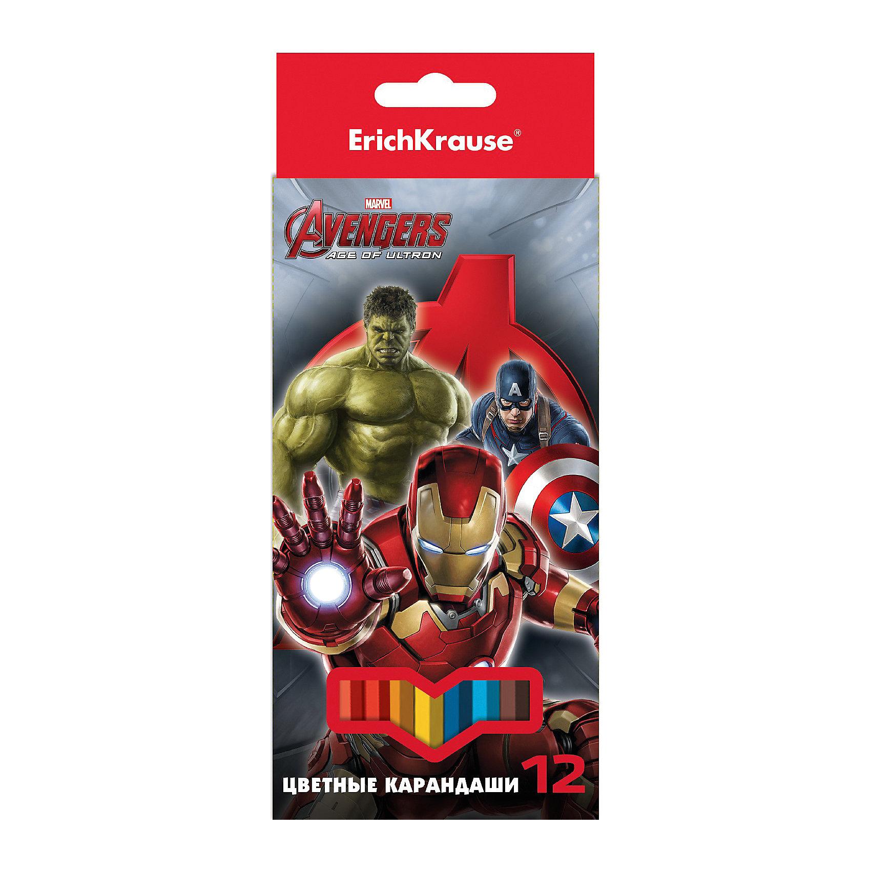 Карандаши Мстители-2, 12 цветовХарактеристики карандашей Мстители-2:<br><br>• возраст: от 5 лет<br>• герой: супергерои<br>• пол: для мальчиков<br>• комплект: 12 карандашей.<br>• материал: древесина, грифель.<br>• размер упаковки: 20х9х1 см.<br>• упаковка: картонная коробка.<br>• толщина грифеля: 3 мм.<br>• карандаши: шестигранные.<br>• бренд: Erich Krause<br>• страна обладатель бренда: Россия.<br><br>В набор Мстители-2 известной торговой марки канцелярских товаров Erich Krause входят 12 цветных карандашей. Они выполнены из древесины высокого качества, которая легко затачивается. Толщина грифеля составляет 3 мм, он достаточно прочный, не ломается и не крошится при падении, его мягкость обеспечивает равномерное закрашивание. На коробке изображены любимые герои мальчишек - супергерои Капитан Америка, Железный человек и Халк.<br><br>Карандаши Мстители-2торговой марки Erich Krause  можно купить в нашем интернет-магазине.<br><br>Ширина мм: 88<br>Глубина мм: 204<br>Высота мм: 8<br>Вес г: 94<br>Возраст от месяцев: 60<br>Возраст до месяцев: 216<br>Пол: Мужской<br>Возраст: Детский<br>SKU: 5409233