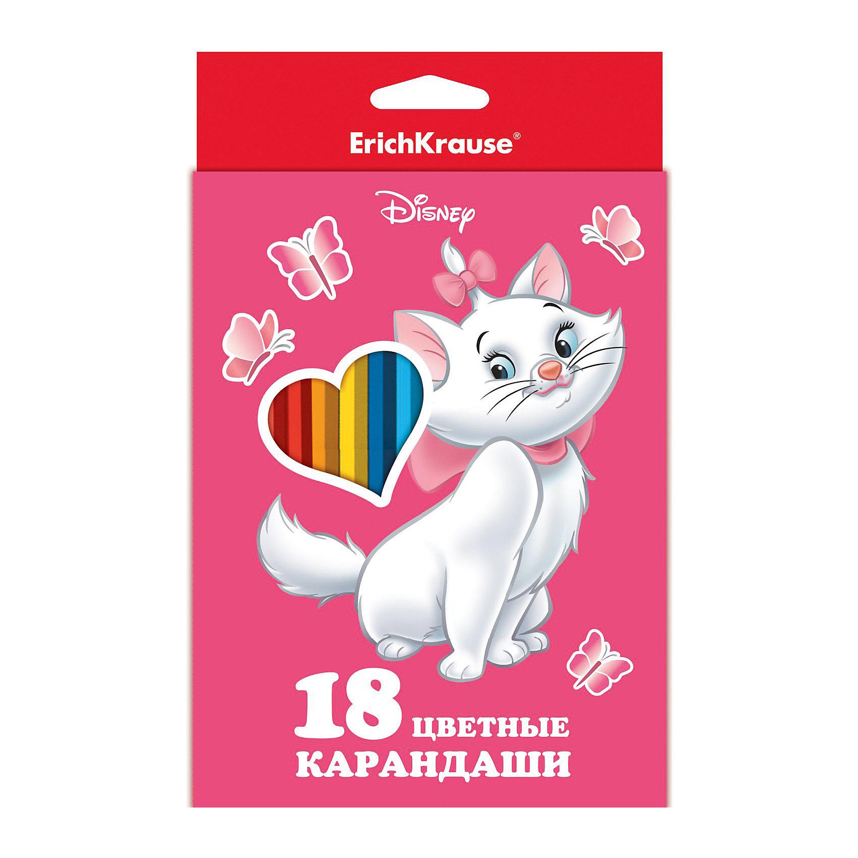Карандаши Кошка Мари, 18 цветовХарактеристики карандашей Кошка Мари:<br><br>• возраст: от 3 лет<br>• герой: Дисней<br>• пол: для девочек<br>• комплект: 18 карандашей.<br>• материал: дерево, графит<br>• размер упаковки: 20х9х1,5 см <br>• упаковка: картонная коробка.<br>• толщина грифеля: 3 мм.<br>• карандаши: шестигранные.<br>• бренд: Erich Krause<br><br>Набор цветных карандашей от известной немецкой компании Erich Krause (Эрих Краузе) состоит из 18 цветных карандашей разных ярких цветов, которые прекрасно подходят для рисования даже малышей. У карандашей не крошиться грифель, они не требуют сильного нажатия, а рисунки получаются насыщенные и яркие. Корпус шестигранной формы позволит малышу правильно держать карандаш и, при долгом рисовании, рука не будет уставать.<br><br>Карандаши Кошка Мари торговой марки Erich Krause  можно купить в нашем интернет-магазине.<br><br>Ширина мм: 134<br>Глубина мм: 204<br>Высота мм: 8<br>Вес г: 133<br>Возраст от месяцев: 60<br>Возраст до месяцев: 216<br>Пол: Женский<br>Возраст: Детский<br>SKU: 5409238