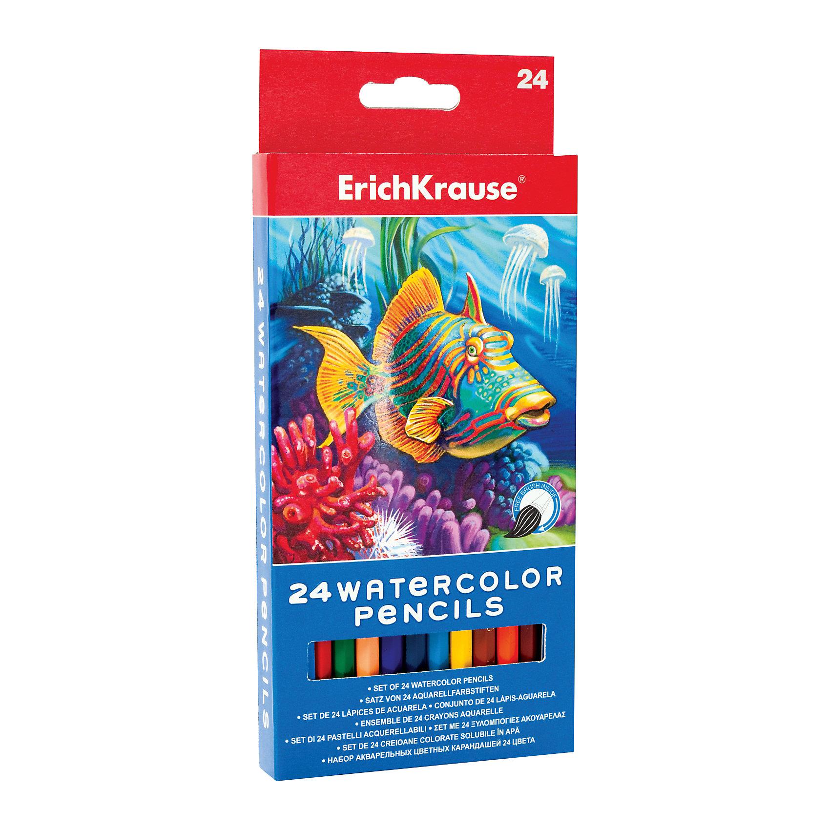 Акварельные карандаши шестигранные, 24 цвета + кисточка, ArtBerryПисьменные принадлежности<br>Характеристики акварельных карандашей шестигранных ArtBerry 24 цвета + кисточка:<br><br>• возраст: от 5 лет<br>• пол: для мальчиков и девочек <br>• тип набора: карандаши<br>• материал кисти: пластик<br>• материал карандашей: дерево<br>• вид карандаша цветной<br>• поверхность бумага<br>• назначение для рисования, для творчества<br>• особенности набора: с кисточкой<br>• диаметр грифеля, 3 мм<br>• количество в упаковке, 24 шт.<br>• длина кисти, 165 мм<br>• страна-изготовитель Китай<br>• упаковка: коробка<br>• размеры: длина карандашей - 175, длина кисточки - 165 мм<br>• размер упаковки (дхшхв): 21x2x9 см<br>• комплектация 24 карандаша, кисточка<br>• вес в упаковке, 153 г<br><br>Набор цветных акварельных карандашей торговой марки Erich Krause рекомендован для обучения рисованию детей дошкольного возраста. Набор включает в себя 24 карандаша и кисточку. Эргономичная шестигранная форма корпуса карандаша выполнена из натурального дерева. Специальная обработка дерева позволяет легко затачивать карандаши. Карандаш удобно держать в руке, мягкий грифель обеспечивает яркие и насыщенные цвета. При размывании водой создается эффект акварельного рисунка.<br><br>Набор цветных акварельных карандашей ArtBerry 24 цвета + кисточка торговой марки Erich Krause можно купить в нашем интернет-магазине.<br><br>Ширина мм: 94<br>Глубина мм: 208<br>Высота мм: 17<br>Вес г: 163<br>Возраст от месяцев: 60<br>Возраст до месяцев: 216<br>Пол: Унисекс<br>Возраст: Детский<br>SKU: 5409239