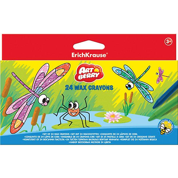 Восковые мелки ArtBerry, 24 цветаМасляные и восковые мелки<br>Восковые мелки ArtBerry, 24 цвета<br><br>Характеристики:<br><br>• В набор входит: восемь мелков<br>• Размер упаковки: 12 * 1 * 6,5 см.<br>• Диаметр: 0,7 см.<br>• Длина: 9 см.<br>• Вес: 50 г.<br>• Для детей в возрасте: от 3-х лет<br>• Страна производитель: Китай<br><br>Восемь ярких цветных карандашей, изготовленных из пчелиного воска с добавлением пищевых красителей безопасны для детей и не требуют сильного нажима, чтобы ими можно было рисовать. Мелки не оставляют следов на руках, но каждый их мелков обернут бумагой. Чтобы затачивать мелки вам нужно порисовать ими немного по бумаги и края сточатся сами, заострив носик. Рисуя мелками детям особенно нравится, что рисовать можно и боковыми частями мелка, а не только грифелем как в карандаше или фломастере. <br><br>Мягкие мелки при рисовании не оставляют царапин и станут идеальным инструментом для первых попыток рисования. Мелки не ломаются при рисовании и доставляют только положительные эмоции при рисовании. В набор входит целых 24 цвета, которые помогут малышу сотворить любой шедевр и выучить много новых оттенков.  <br><br>Восковые мелки ArtBerry, 24 цвета можно купить в нашем интернет-магазине.<br>Ширина мм: 198; Глубина мм: 120; Высота мм: 10; Вес г: 147; Возраст от месяцев: 60; Возраст до месяцев: 216; Пол: Унисекс; Возраст: Детский; SKU: 5409244;