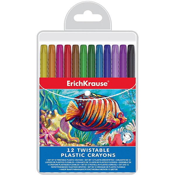Пластиковые мелки Erich Krause twist, 12 цветовМасляные и восковые мелки<br>Характеристики товара:<br><br>• материал упаковки: пластик <br>• количество цветов: 12<br>• возраст: от 3 лет<br>• вес: 173 г<br>• габариты упаковки: 12,4х20,4х2,3 г<br>• страна производитель: Китай<br><br>Мелки пачкают ручки? Попробуйте приобрести ребенку мелки в пластиковой упаковке. Основная часть мелка выдвигается по мере израсходования рабочей части. Удобная треугольная форма карандаша уверенно сидит в маленькой детской ручке.<br><br>Пластиковые мелки Erich Krause twist, 12 цветов можно купить в нашем интернет-магазине.<br><br>Ширина мм: 124<br>Глубина мм: 204<br>Высота мм: 23<br>Вес г: 173<br>Возраст от месяцев: 36<br>Возраст до месяцев: 2147483647<br>Пол: Унисекс<br>Возраст: Детский<br>SKU: 5409249