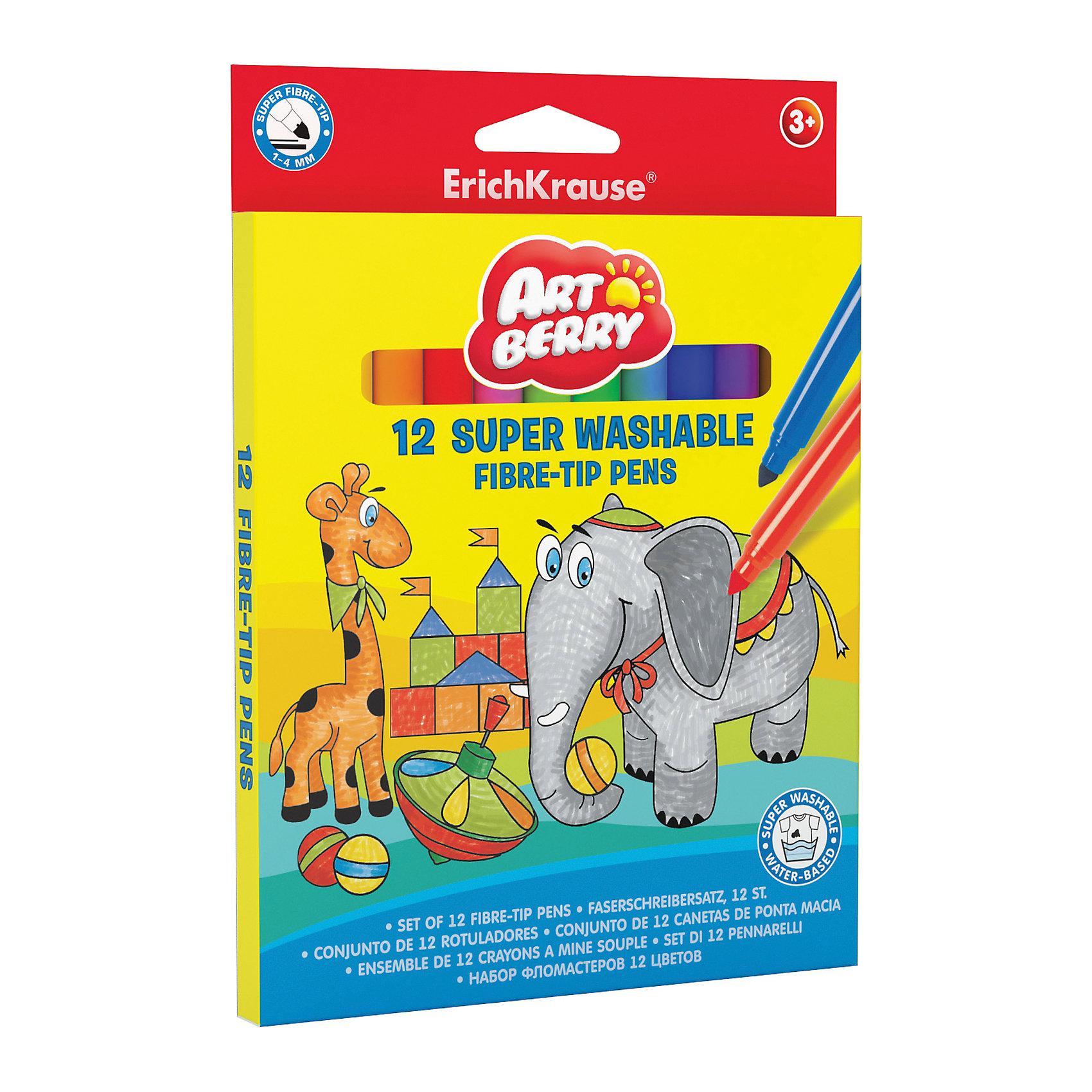 Фломастеры ArtBerry supertip easy washable, 12 цветовПисьменные принадлежности<br>Характеристики товара:<br><br>• материал упаковки: пластик <br>• количество цветов: 12<br>• возраст: от 3 лет<br>• вес: 120 г<br>• страна производитель: Малайзия<br><br>Фломастеры – красивый и яркий материал для творчества. К сожалению, не все дети аккуратно рисуют. Но теперь проблема с удалением сложных пятен от фломастеров решена: новые фломастеры легко смываются водой с любой одежды!<br><br>Товар для творчества «Фломастеры ArtBerry supertip easy washable, 12 цветов можно купить в нашем интернет-магазине.<br><br>Ширина мм: 145<br>Глубина мм: 12<br>Высота мм: 200<br>Вес г: 120<br>Возраст от месяцев: 36<br>Возраст до месяцев: 2147483647<br>Пол: Унисекс<br>Возраст: Детский<br>SKU: 5409257