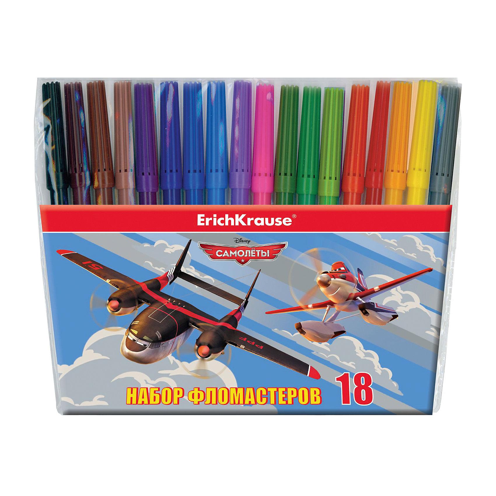 Фломастеры Flying Planes, 18 цветовПисьменные принадлежности<br>Характеристики товара:<br><br>• материал упаковки: пластик <br>• количество цветов: 18<br>• вентилируемый колпачок<br>• возраст: от 3 лет<br>• габариты упаковки: 17,9х17,2х1,2 см<br>• вес: 123 г<br>• страна производитель: Россия<br><br>Здоровое развитие ребенка невозможно без включения творческой программы в его дошкольное обучение. Рисование фломастерами – отличная возможность развить в малыше фантазию и нестандартное мышление. У фломастеров вентилируемый колпачок в целях безопасности.!<br><br>Фломастеры Flying Planes, 18 цветов, можно купить в нашем интернет-магазине.<br><br>Ширина мм: 179<br>Глубина мм: 172<br>Высота мм: 12<br>Вес г: 123<br>Возраст от месяцев: 36<br>Возраст до месяцев: 2147483647<br>Пол: Мужской<br>Возраст: Детский<br>SKU: 5409269