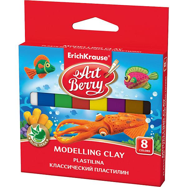 Классический пластилин ArtBerry с Алоэ Вера, 8 цветов, 120гРисование и лепка<br>Характеристики товара:<br><br>• материал упаковки: бумага <br>• количество цветов: 8<br>• возраст: от 3 лет<br>• габариты упаковки: 10,7х12,7х1,4 см<br>• вес: 131 г<br>• страна производитель: Россия<br><br>Мягкий пластилин изготовлен с введением в состав Алоэ Вера. Благодаря этому параметру пластилин не сушит детскую кожу, а наоборот, бережно ухаживает за поверхностью ручек малыша. Сам пластилин отлично лепится и застывает на воздухе через 12 часов.<br><br>Классический пластилин ArtBerry с Алоэ Вера, 8 цветов, 120 г, можно купить в нашем интернет-магазине.<br><br>Ширина мм: 107<br>Глубина мм: 127<br>Высота мм: 14<br>Вес г: 131<br>Возраст от месяцев: 36<br>Возраст до месяцев: 2147483647<br>Пол: Унисекс<br>Возраст: Детский<br>SKU: 5409277