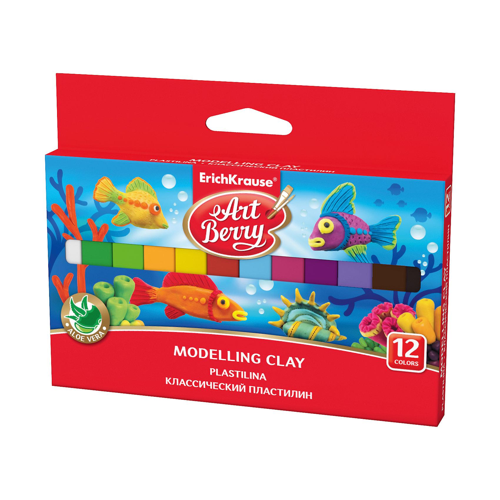 Классический пластилин ArtBerry с Алоэ Вера, 12 цветов,  180гРисование и лепка<br>Характеристики товара:<br><br>• упаковка: картон с европодвесом<br>• количество цветов: 12<br>• возраст: от 3 лет<br>• габариты упаковки: 15х12,7х1,4 см<br>• вес: 200 г<br>• страна производитель: Россия<br><br>Мягкий пластилин изготовлен с введением в состав Алоэ Вера. Благодаря этому параметру пластилин не сушит детскую кожу, а наоборот, бережно ухаживает за поверхностью ручек малыша. Сам пластилин отлично лепится.<br><br>Классический пластилин ArtBerry с Алоэ Вера, 12 цветов, 180г, можно купить в нашем интернет-магазине.<br><br>Ширина мм: 158<br>Глубина мм: 125<br>Высота мм: 14<br>Вес г: 201<br>Возраст от месяцев: 36<br>Возраст до месяцев: 2147483647<br>Пол: Унисекс<br>Возраст: Детский<br>SKU: 5409279