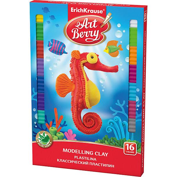 Классический пластилин ArtBerry с Алоэ Вера, 16 цветов, 288г, со стекомРисование и лепка<br>Характеристики товара:<br><br>• со стеком<br>• количество цветов: 16<br>• возраст: от 3 лет<br>• габариты упаковки: 14х22х2 см<br>• вес: 300 г<br>• страна производитель: Россия<br><br>Мягкий пластилин изготовлен с введением в состав Алоэ Вера. Благодаря этому параметру пластилин не сушит детскую кожу, а наоборот, бережно ухаживает за поверхностью ручек малыша. Сам пластилин отлично лепится.<br><br>Классический пластилин ArtBerry с Алоэ Вера, 16 цветов/288г, со стеком, можно купить в нашем интернет-магазине.<br><br>Ширина мм: 149<br>Глубина мм: 220<br>Высота мм: 17<br>Вес г: 338<br>Возраст от месяцев: 36<br>Возраст до месяцев: 2147483647<br>Пол: Унисекс<br>Возраст: Детский<br>SKU: 5409283