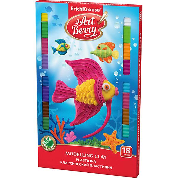 Классический пластилин ArtBerry с Алоэ Вера, 18 цветов, 324г, со стекомРисование и лепка<br>Характеристики товара:<br><br>• со стеком<br>• количество цветов: 18<br>• возраст: от 3 лет<br>• габариты упаковки: 14х22х2 см<br>• вес: 300 г<br>• страна производитель: Россия<br><br>Мягкий пластилин изготовлен с введением в состав Алоэ Вера. Благодаря этому параметру пластилин не сушит детскую кожу, а наоборот, бережно ухаживает за поверхностью ручек малыша. Сам пластилин отлично лепится.<br><br>Классический пластилин ArtBerry с Алоэ Вера, 18 цветов/324г, со стеком, можно купить в нашем интернет-магазине.<br><br>Ширина мм: 225<br>Глубина мм: 143<br>Высота мм: 16<br>Вес г: 383<br>Возраст от месяцев: 36<br>Возраст до месяцев: 2147483647<br>Пол: Унисекс<br>Возраст: Детский<br>SKU: 5409284